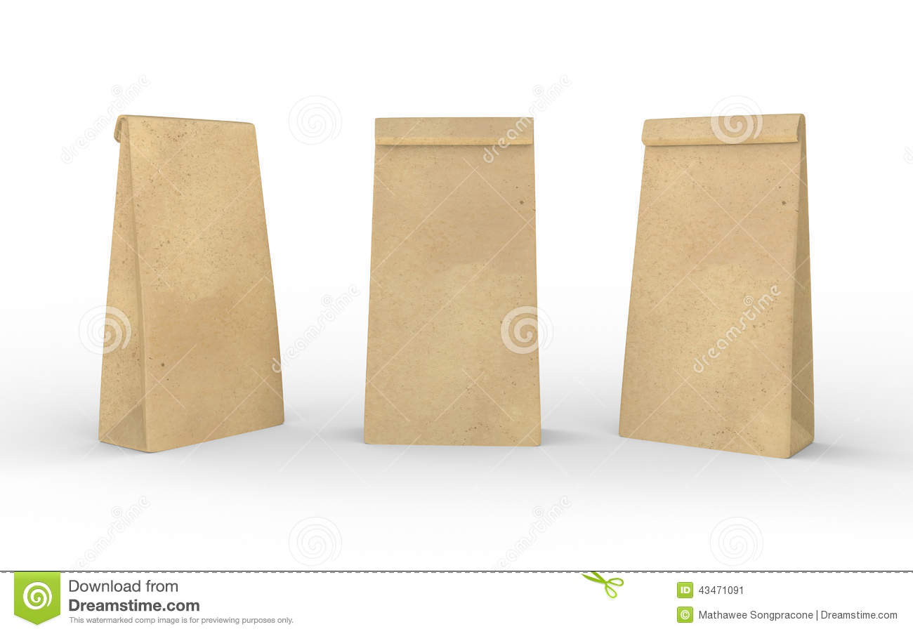 Brown paper lunch bag isolated on white with clipping path