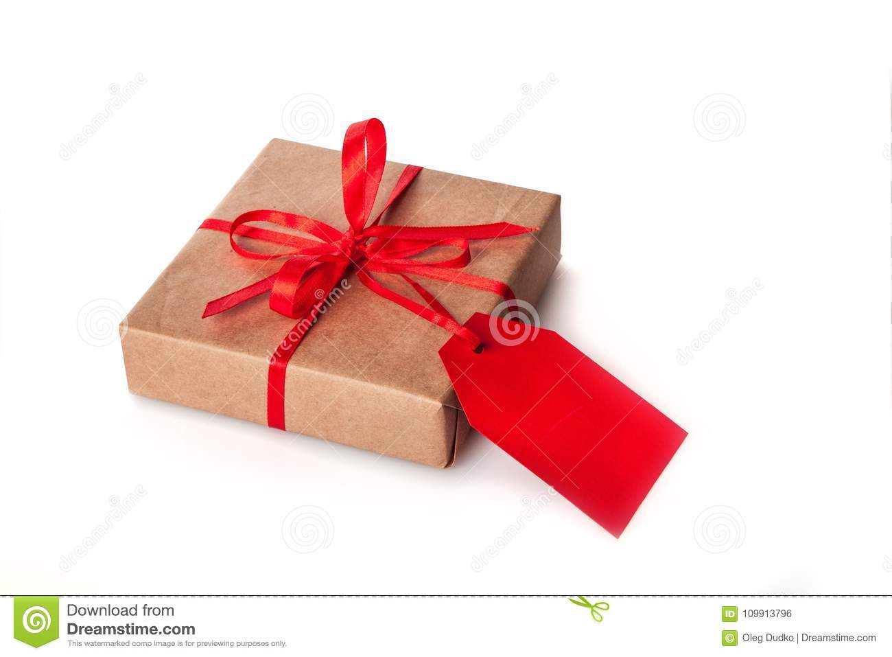 brown paper package with red ribbon and label stock photo image of