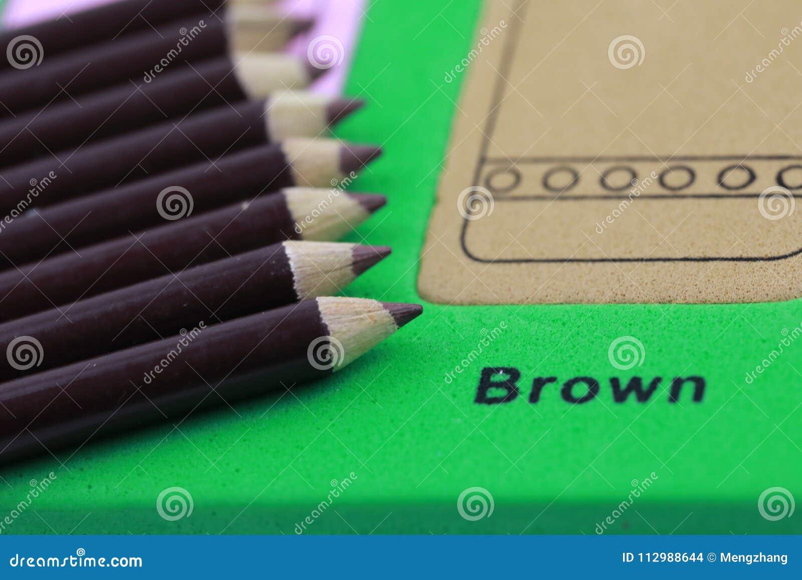 brown pencil crayon of row