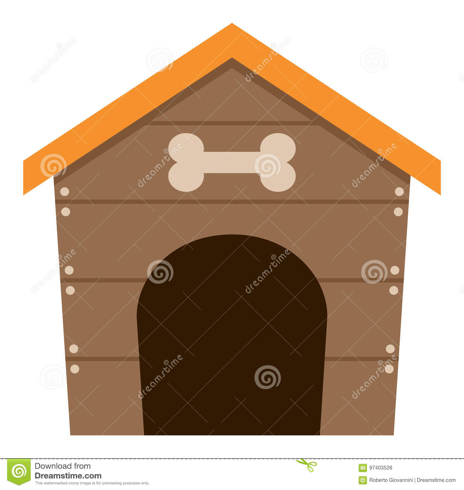 Pet Dog House Flat Icon Isolated on White