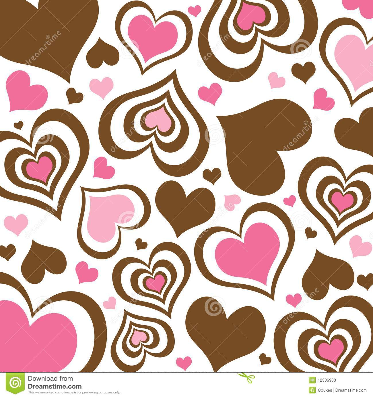 Brown And Pink Hearts Background Stock Photos - Image: 12336903