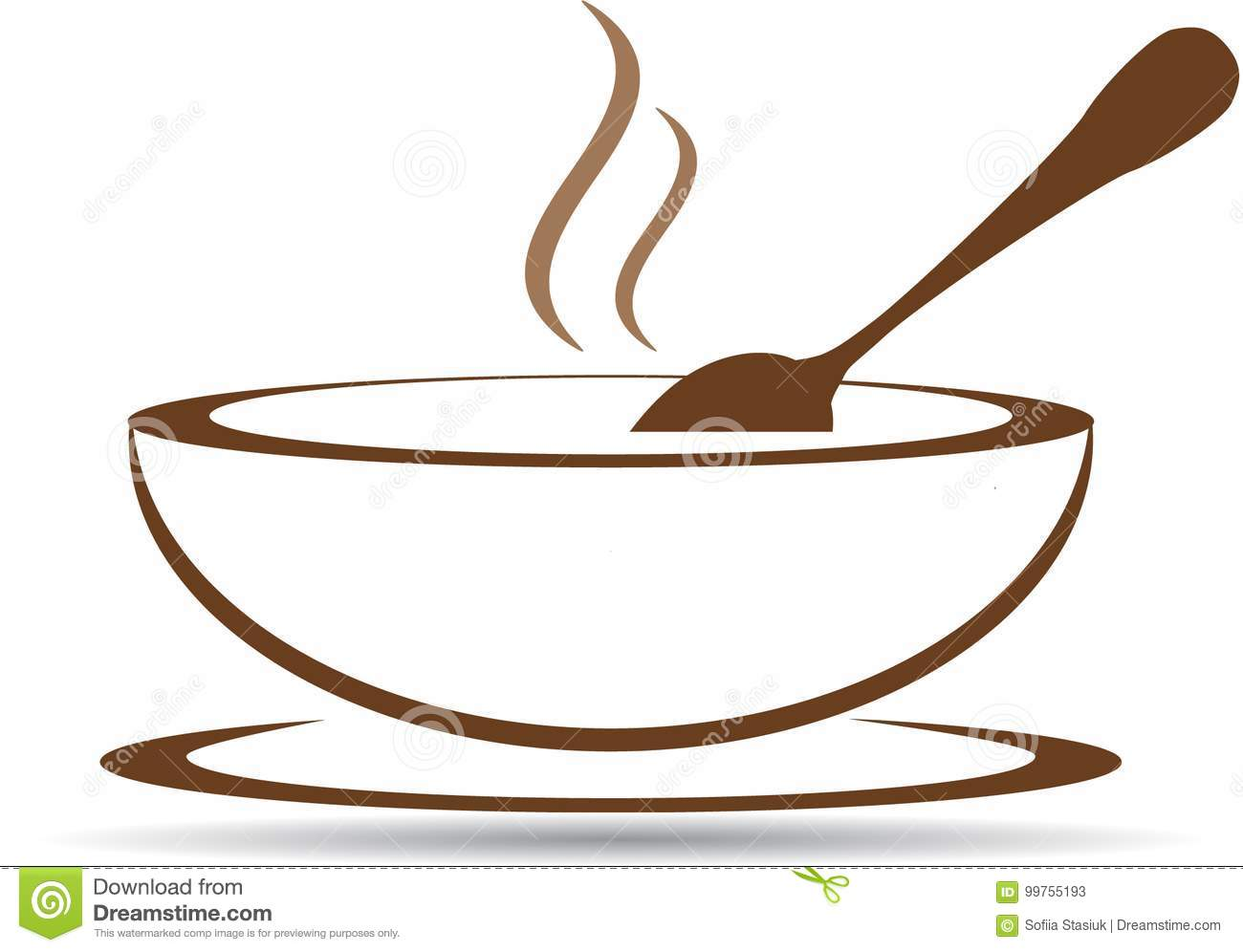 Plate with hot soup in vector