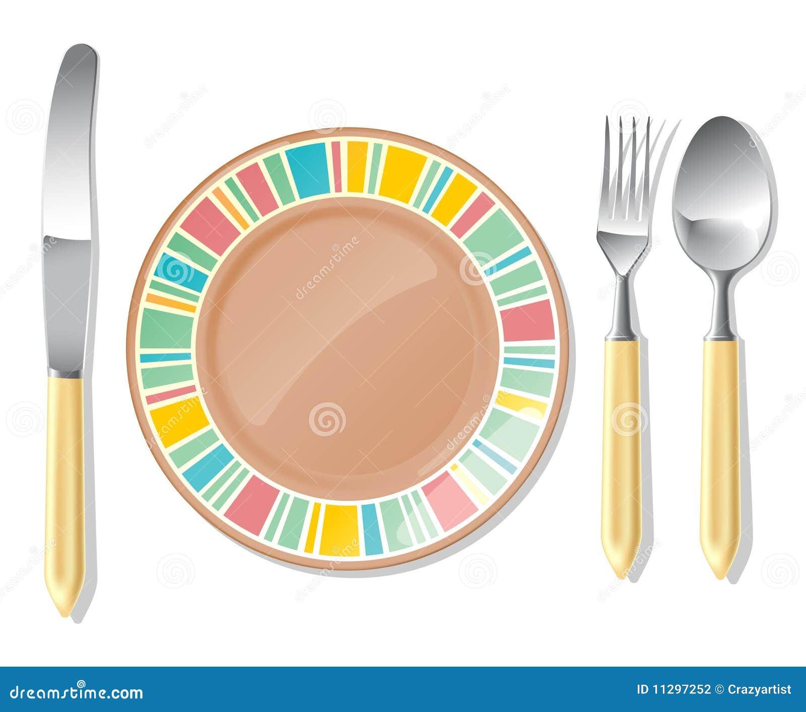 Brown plate, steel spoon, fork, knife