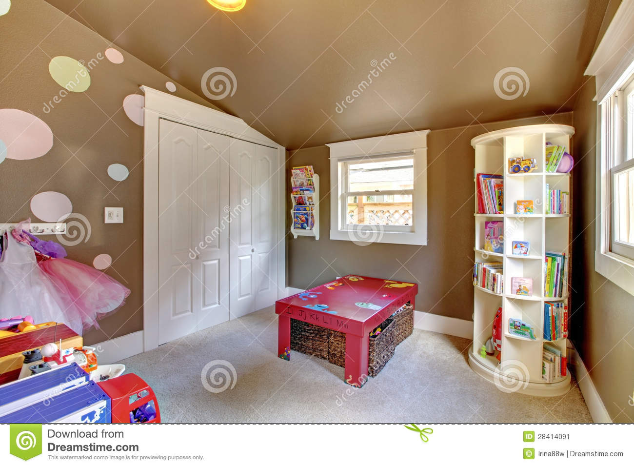 Brown Play Room Kids Girl Interior With Toys Stock Image