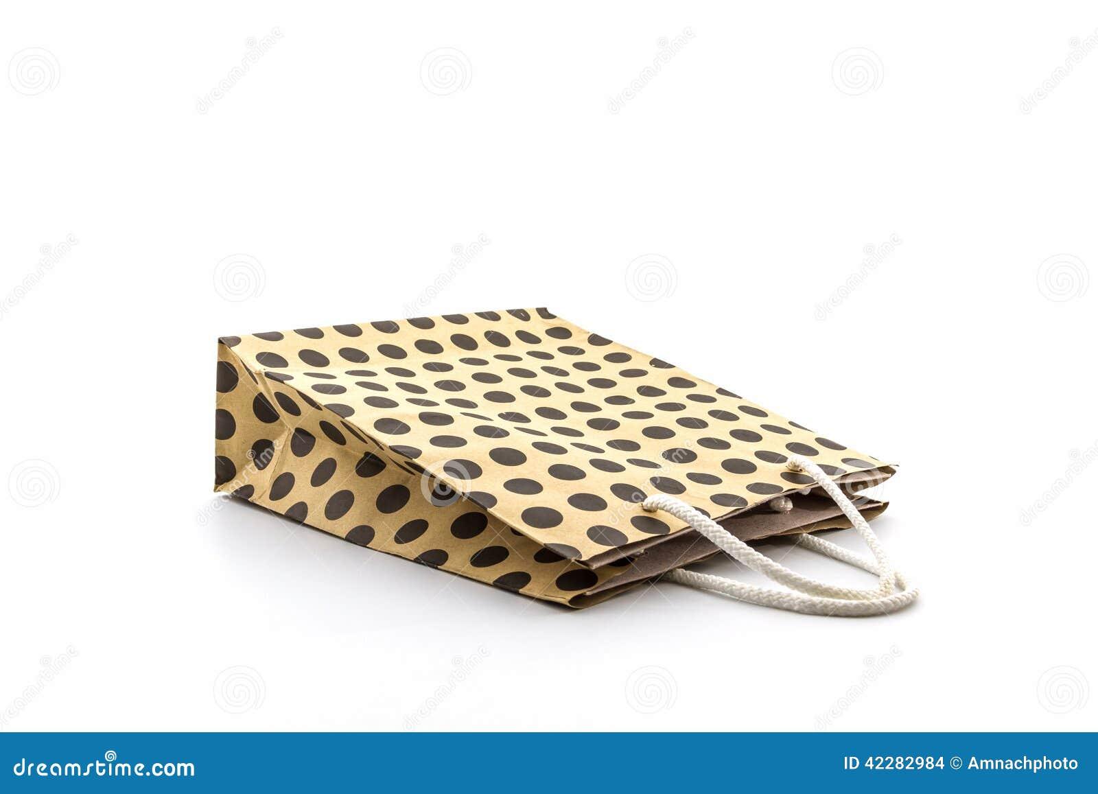 Brown polka dots paper bag.