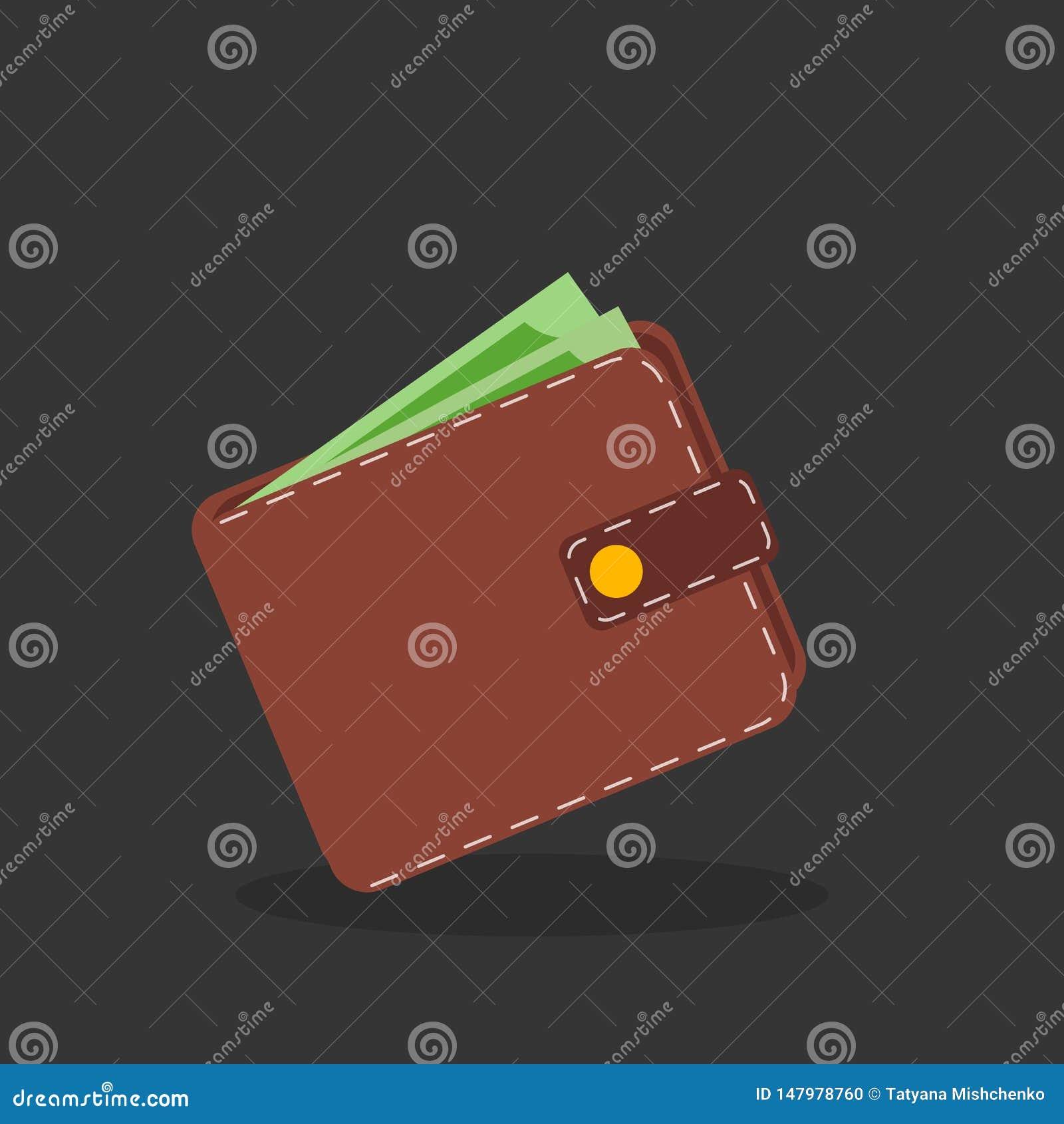Brown portfel z zielonym papierowym pieni?dze