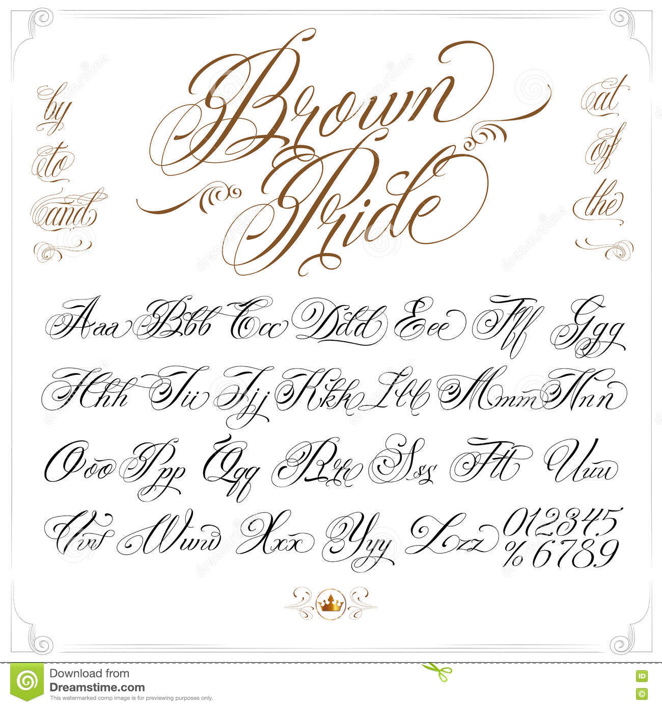 Download Brown Pride Tattoo Font Set Stock Vector