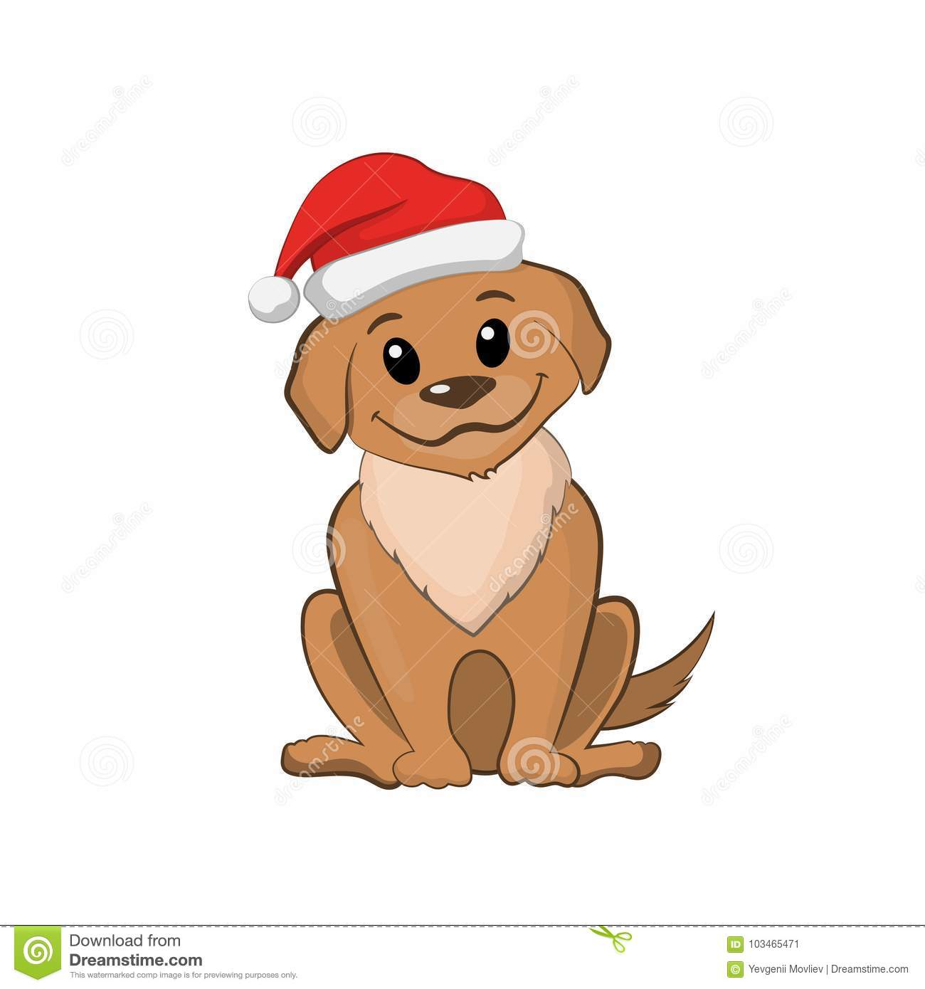 Brown Puppy In Christmas Hat Cute Dog Stock Vector Illustration Of Funny Small 103465471