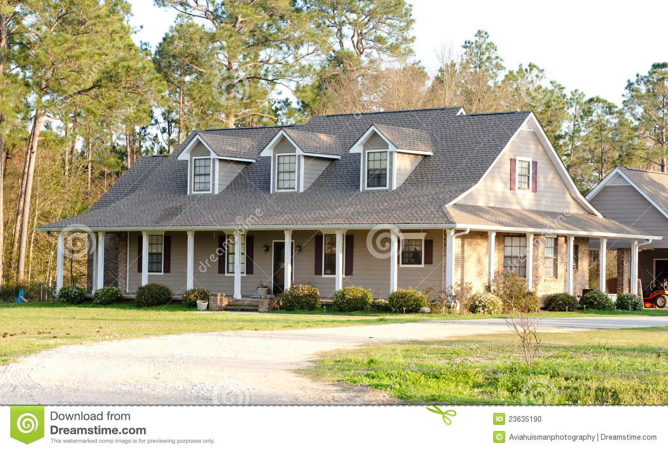 Brown Ranch Style American Home Stock Image