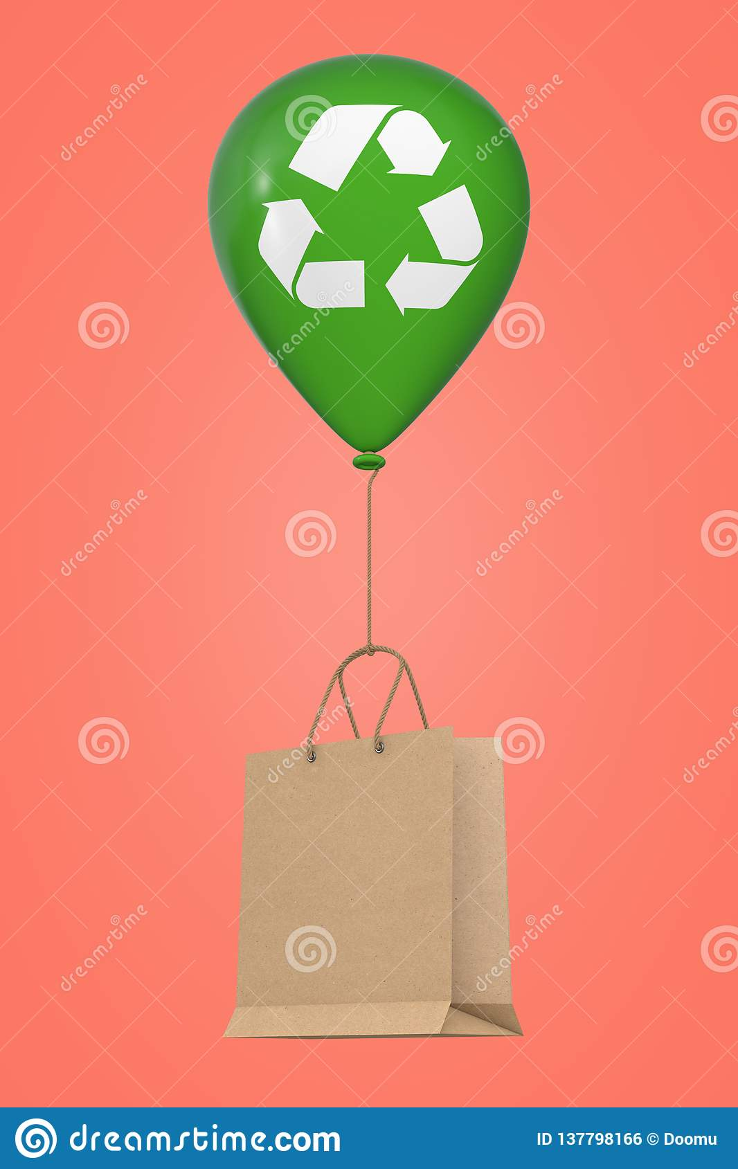 Brown Recycled Paper Shopping Bag Floating with Green Hellium Balloon with Recycle Sign. 3d Rendering