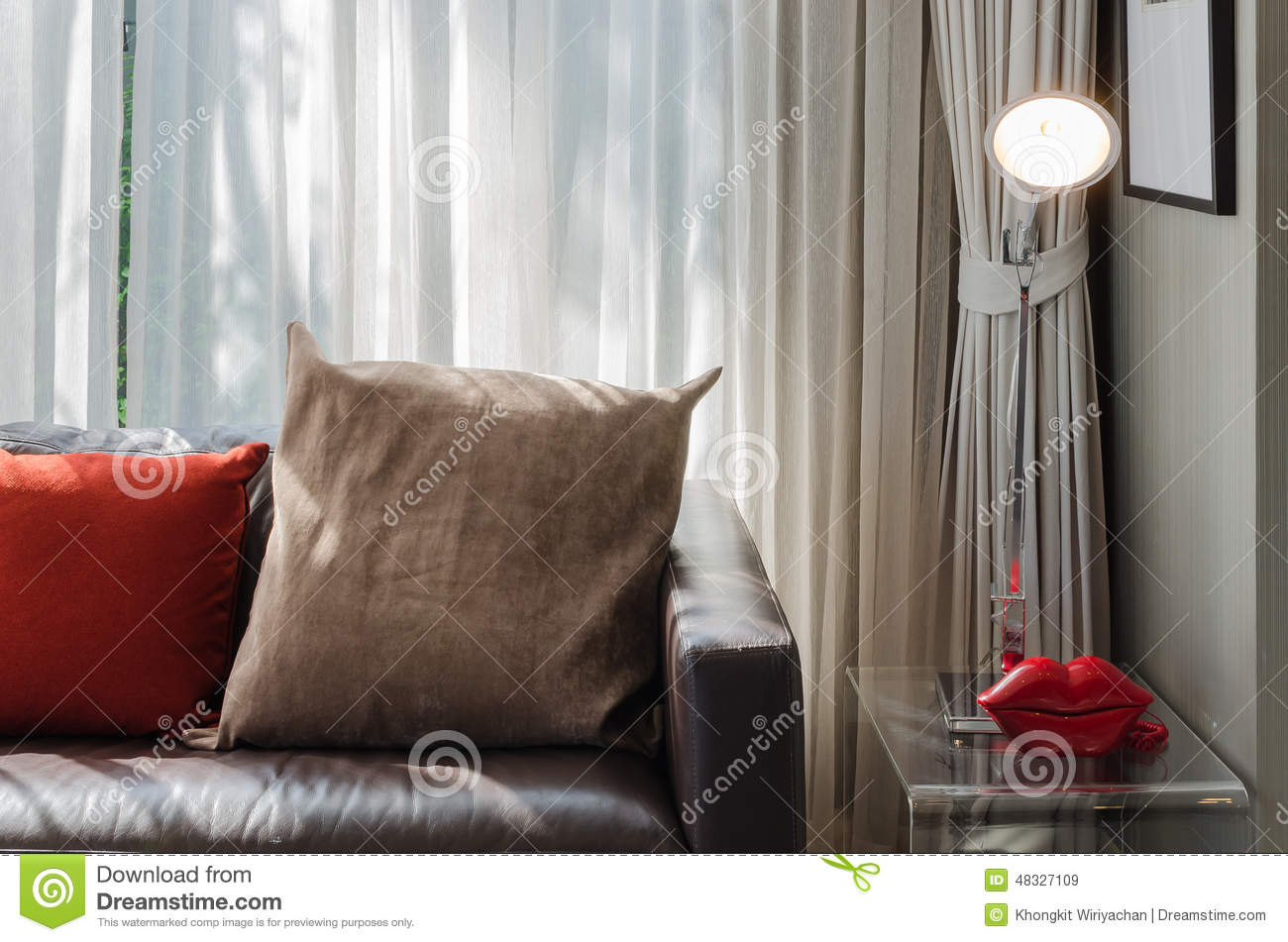 Tremendous Brown And Red Pillow On Brown Sofa Stock Image Image Of Alphanode Cool Chair Designs And Ideas Alphanodeonline