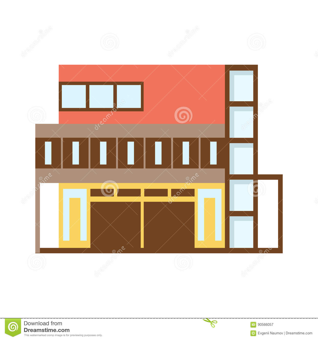 Brown And Red Shopping Mall Modern Building Exterior Design Project Template Isolated Flat Illustration Stock Vector Illustration Of Project Hightech 90566057