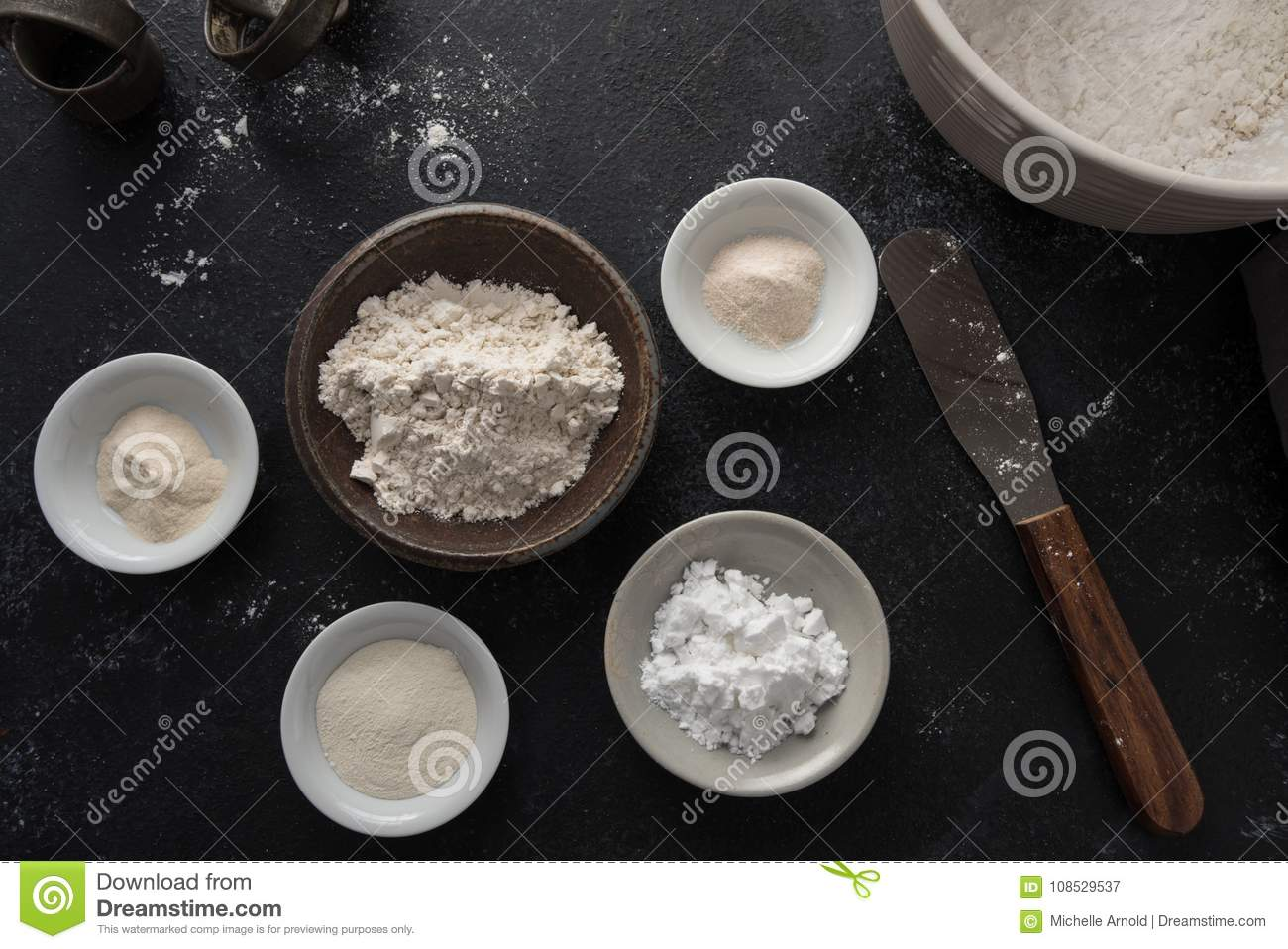 Various Ingredients For Making Gluten Free Flour Blend Stock Image