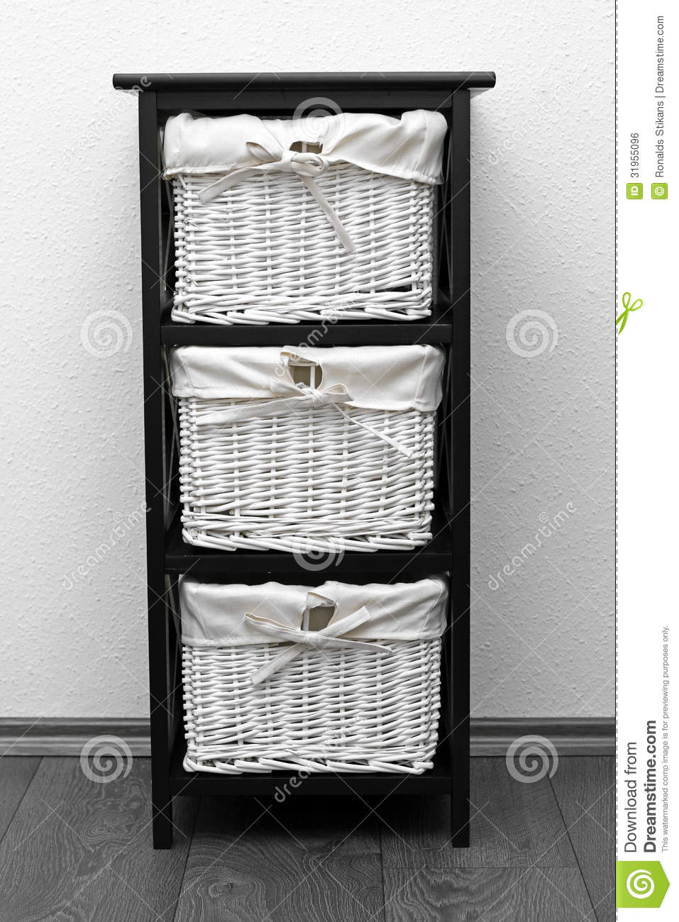brown shelf with wicker baskets stock photo image 31955096. Black Bedroom Furniture Sets. Home Design Ideas