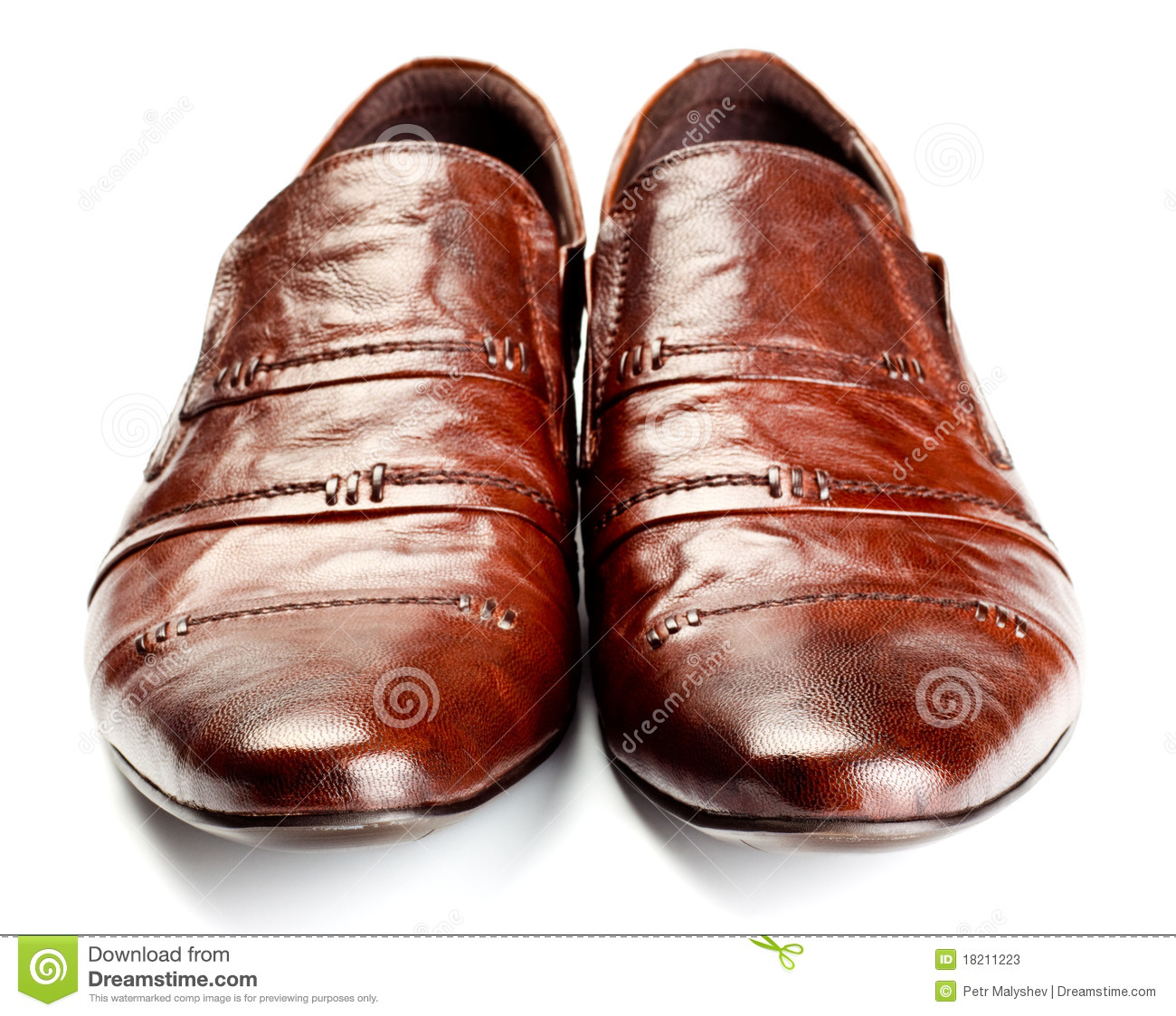 Brown shoes pair isolated on white background