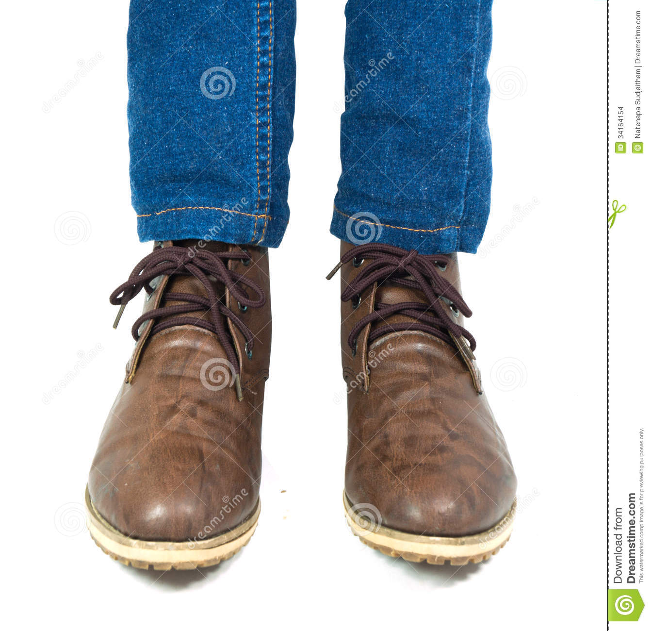Brown Shoes And Blue Jeans Stock Images - Image 34164154