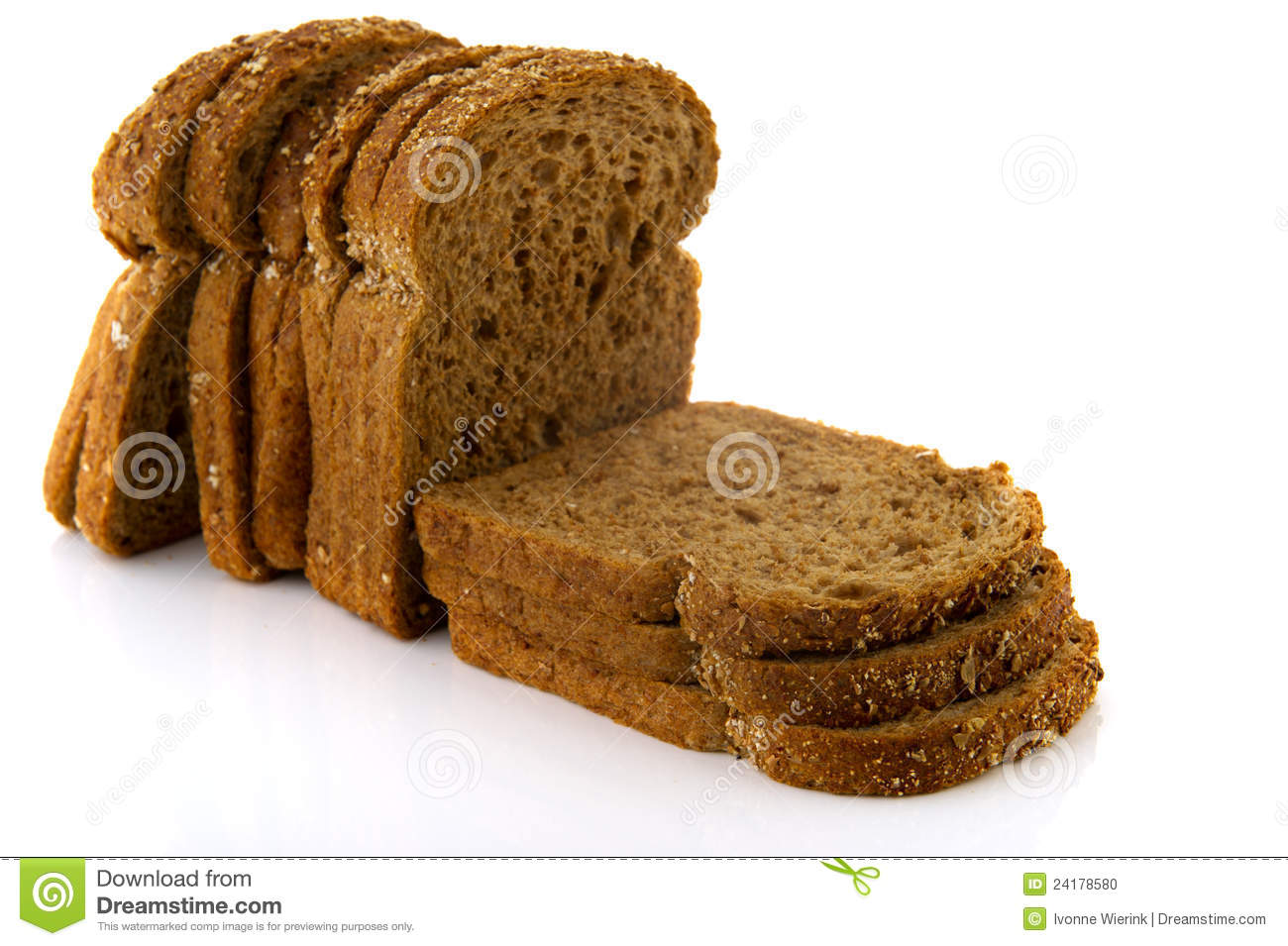 Brown slices of bread isolated over white background.