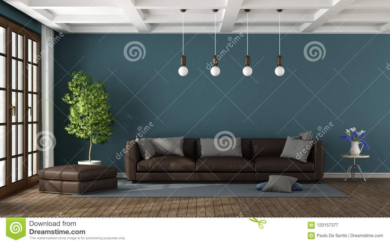 Brown Sofa In A Blue Living Room Stock Illustration Illustration Of Furniture Apartment 120157377