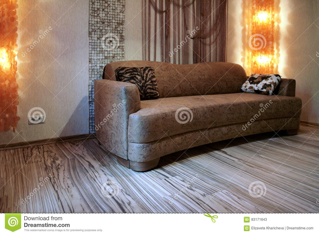 Brown Sofa And Colorful Floor - Zebrano Stock Image - Image of ...