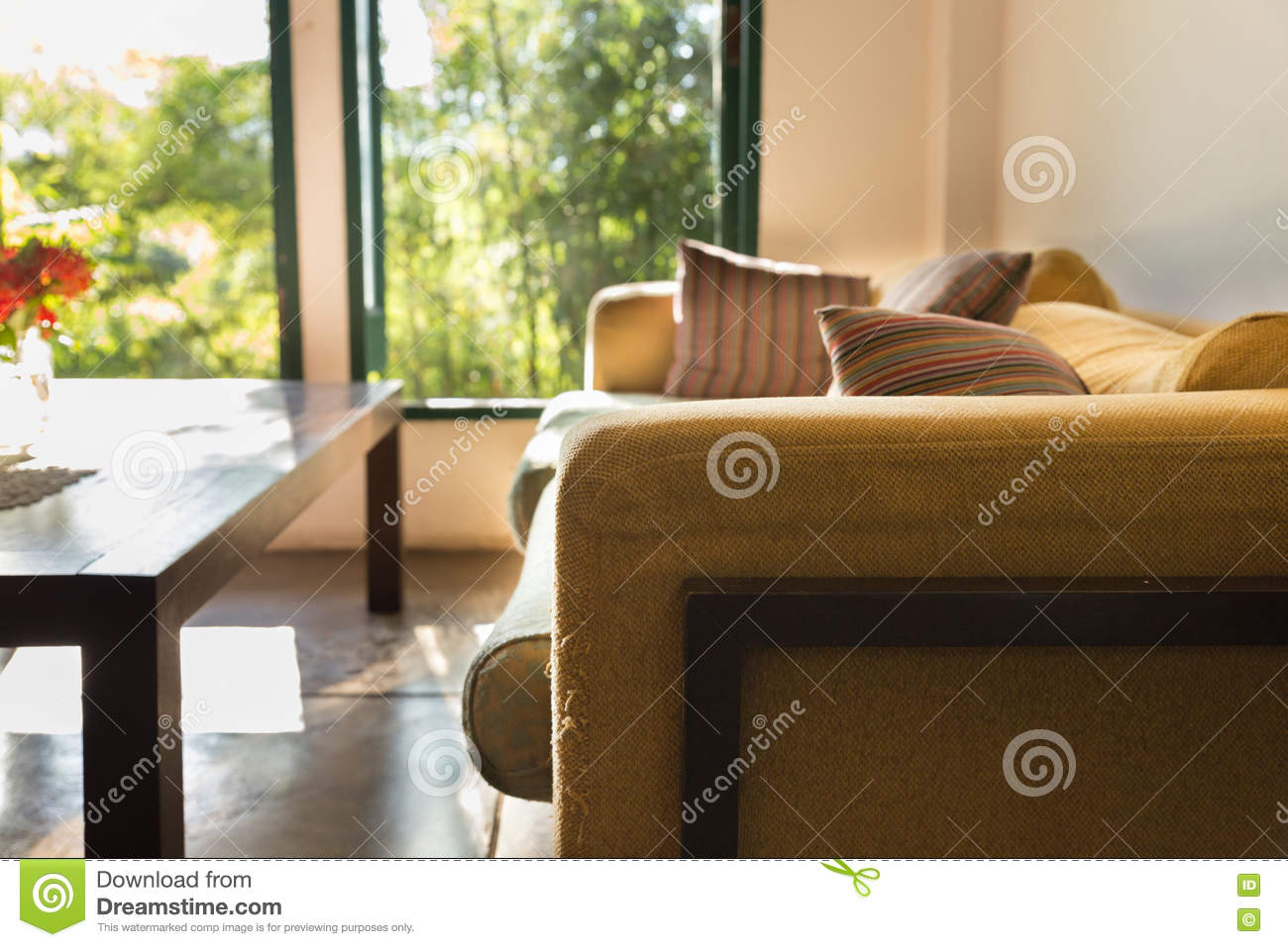 Brown Sofa Couch In Living Room Near Window Stock Image Image Of