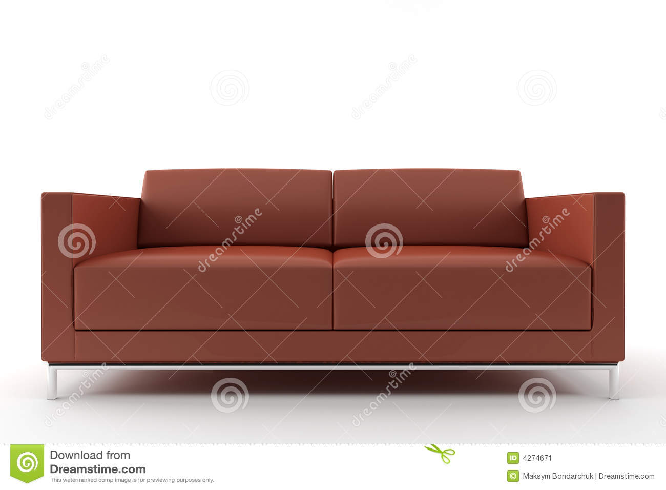 Brown Sofa Isolated On White Background Stock Image
