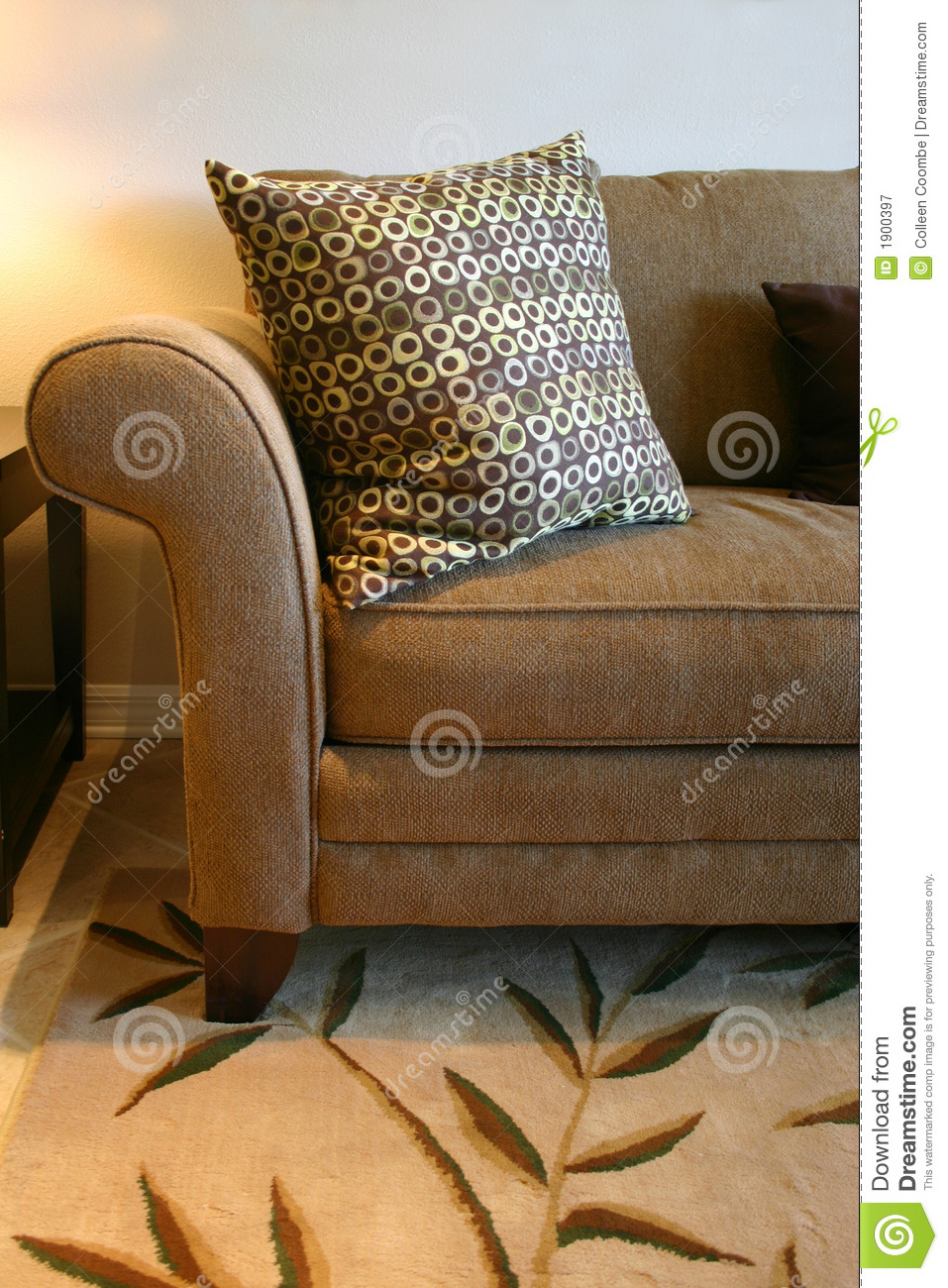 Brown Sofa And Pillow Stock Image Image Of Neutral Tweed