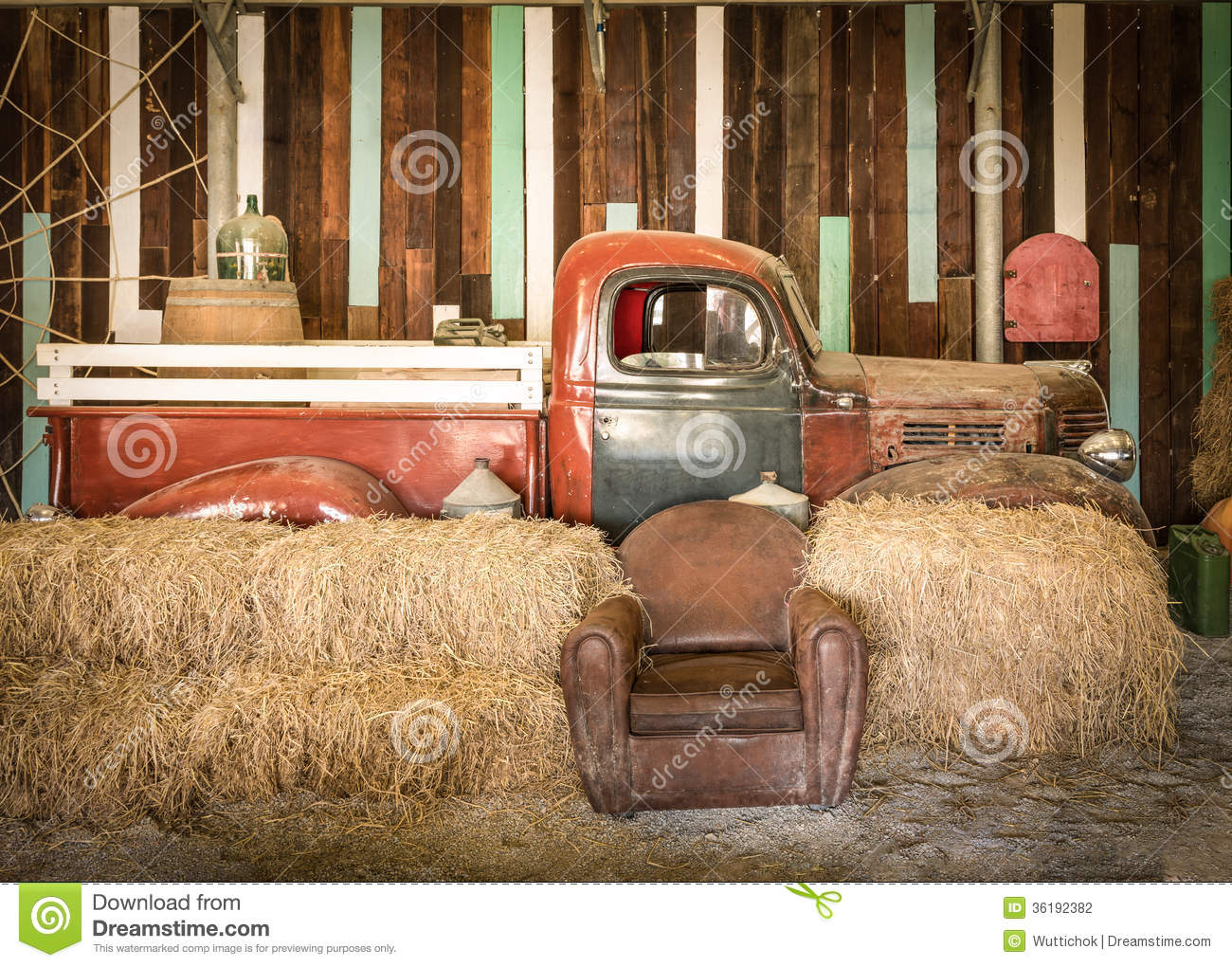 Brown Sofa And Red Pickup Inside The Room Stock Photo
