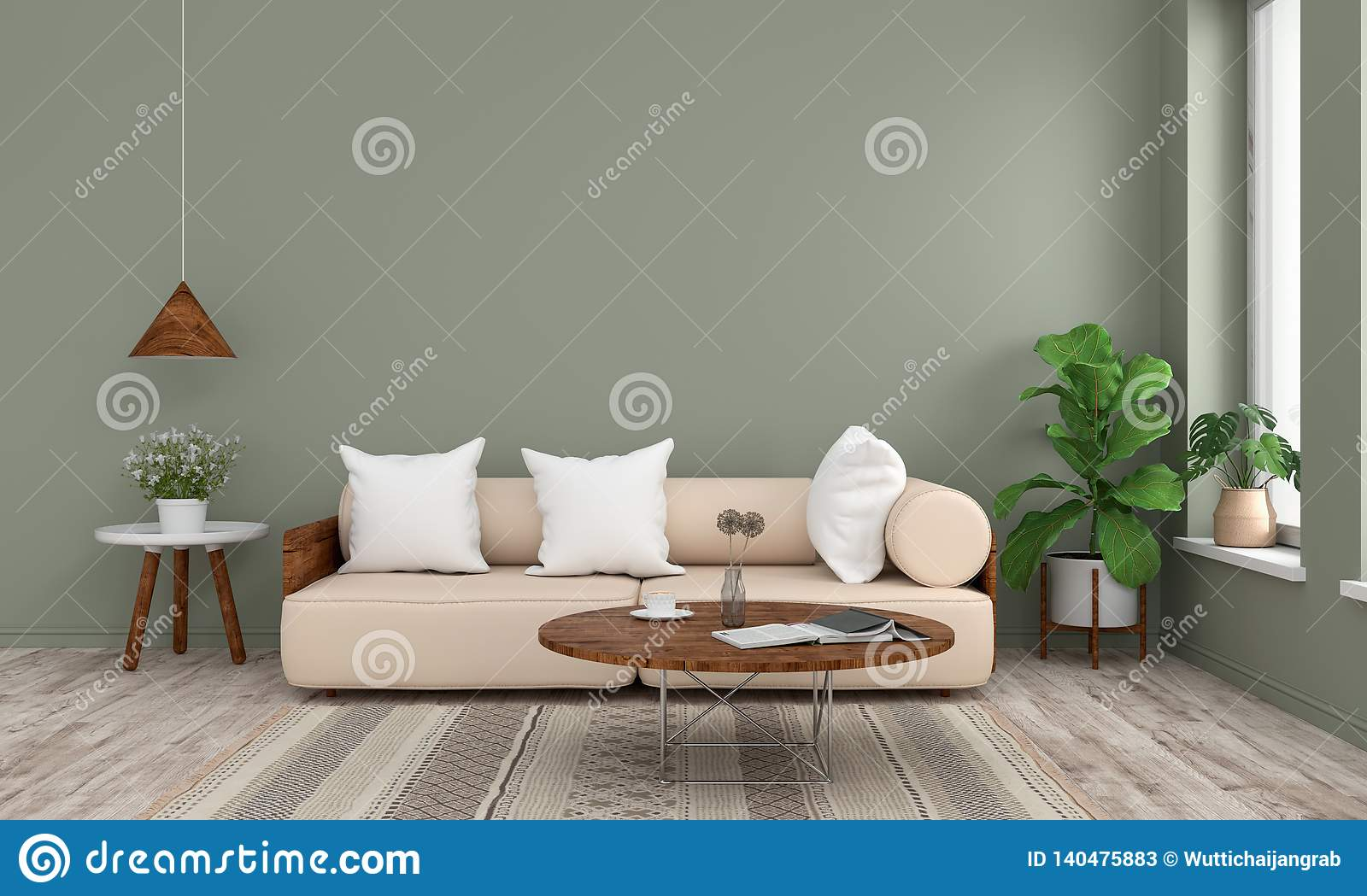 Green Round Table.Sofa And Wood Round Table In Green Living Room 3d Rendering Stock
