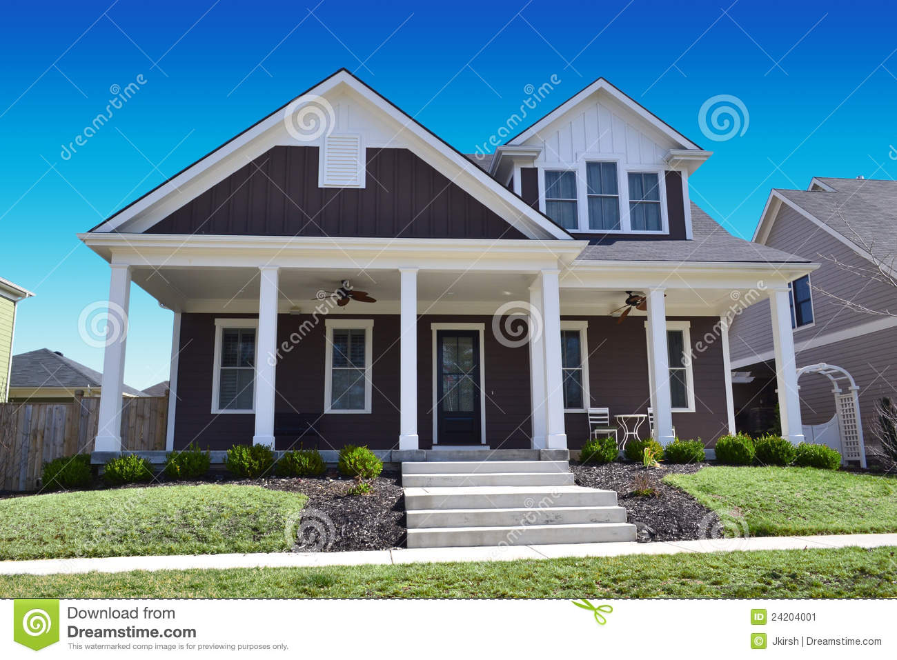 Brown Southern Cape Cod Style Dream Home Stock Image