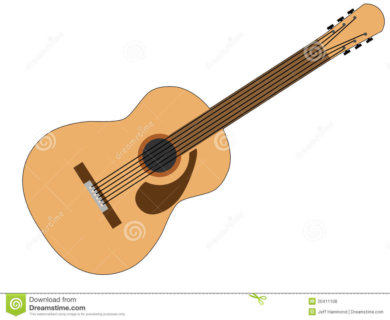 Brown And Tan 6 String Acoustic Guitar Royalty Free Stock