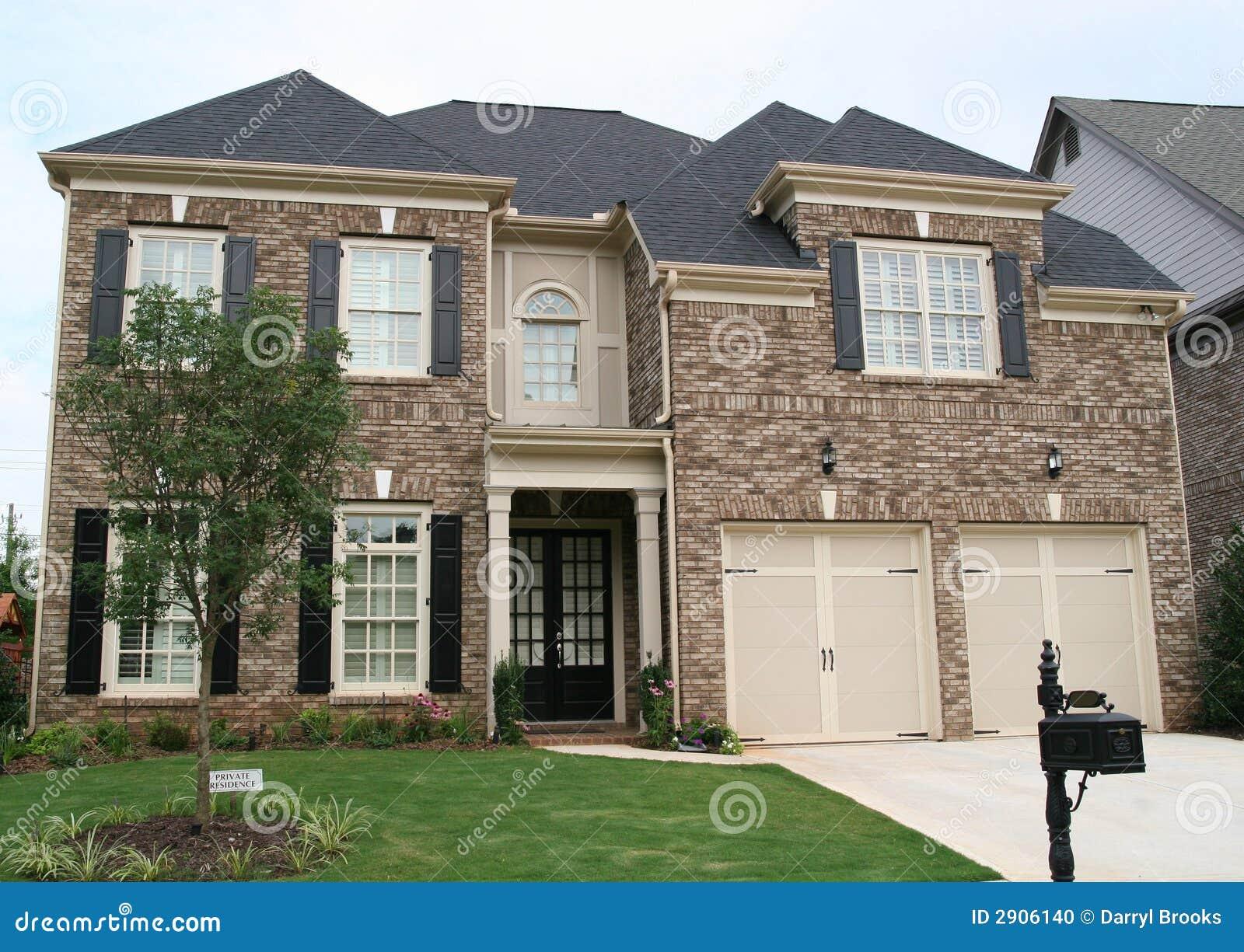 Brown And Tan Brick House Stock Photo Image 2906140