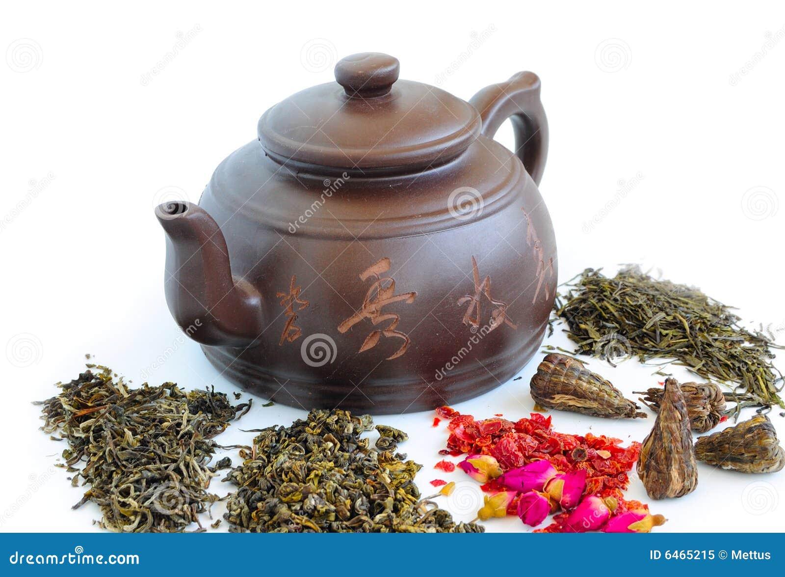 Brown teapot i luźna herbata