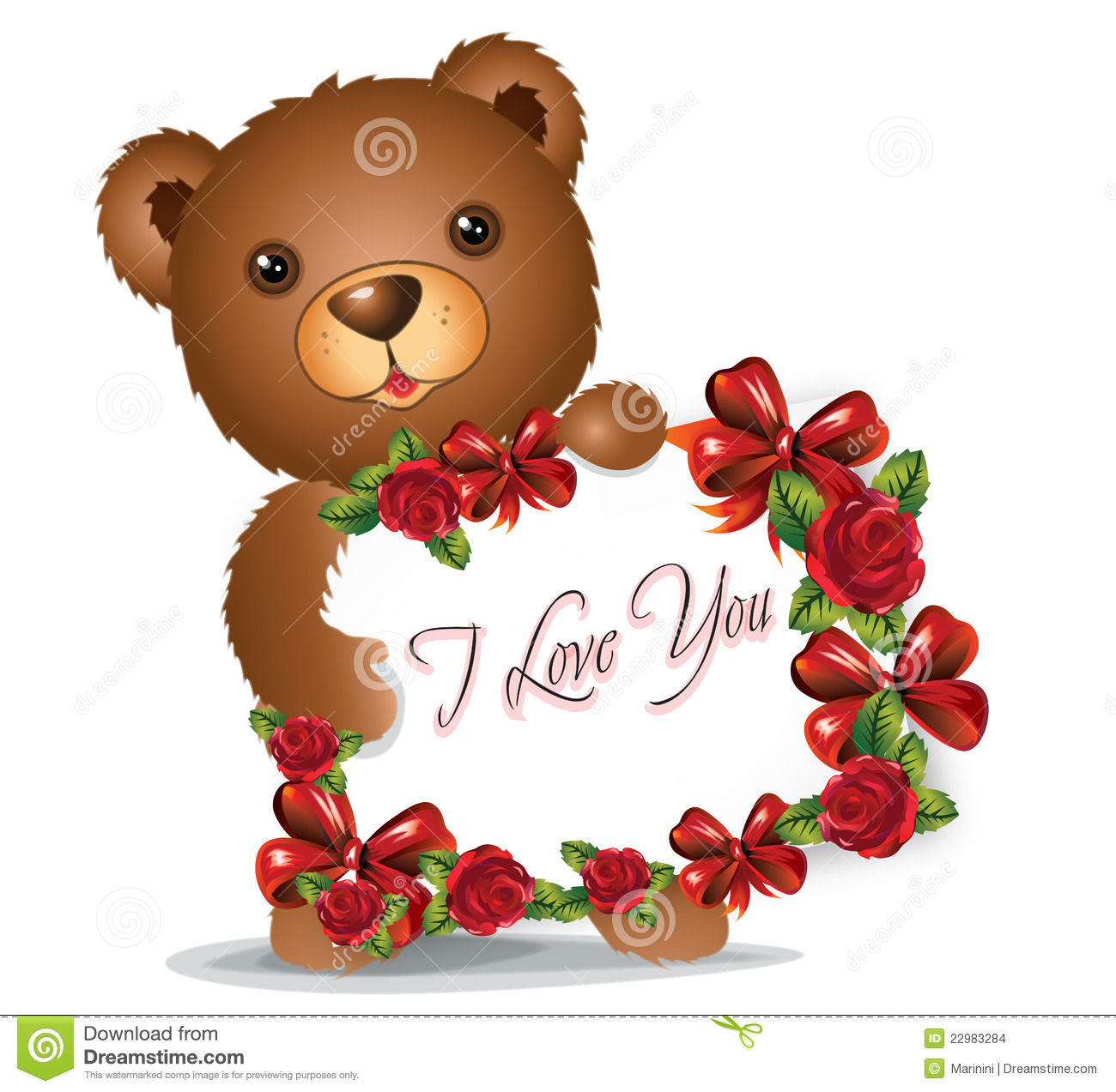 Brown teddy bear with greeting card stock illustration brown teddy bear with greeting card kristyandbryce Image collections