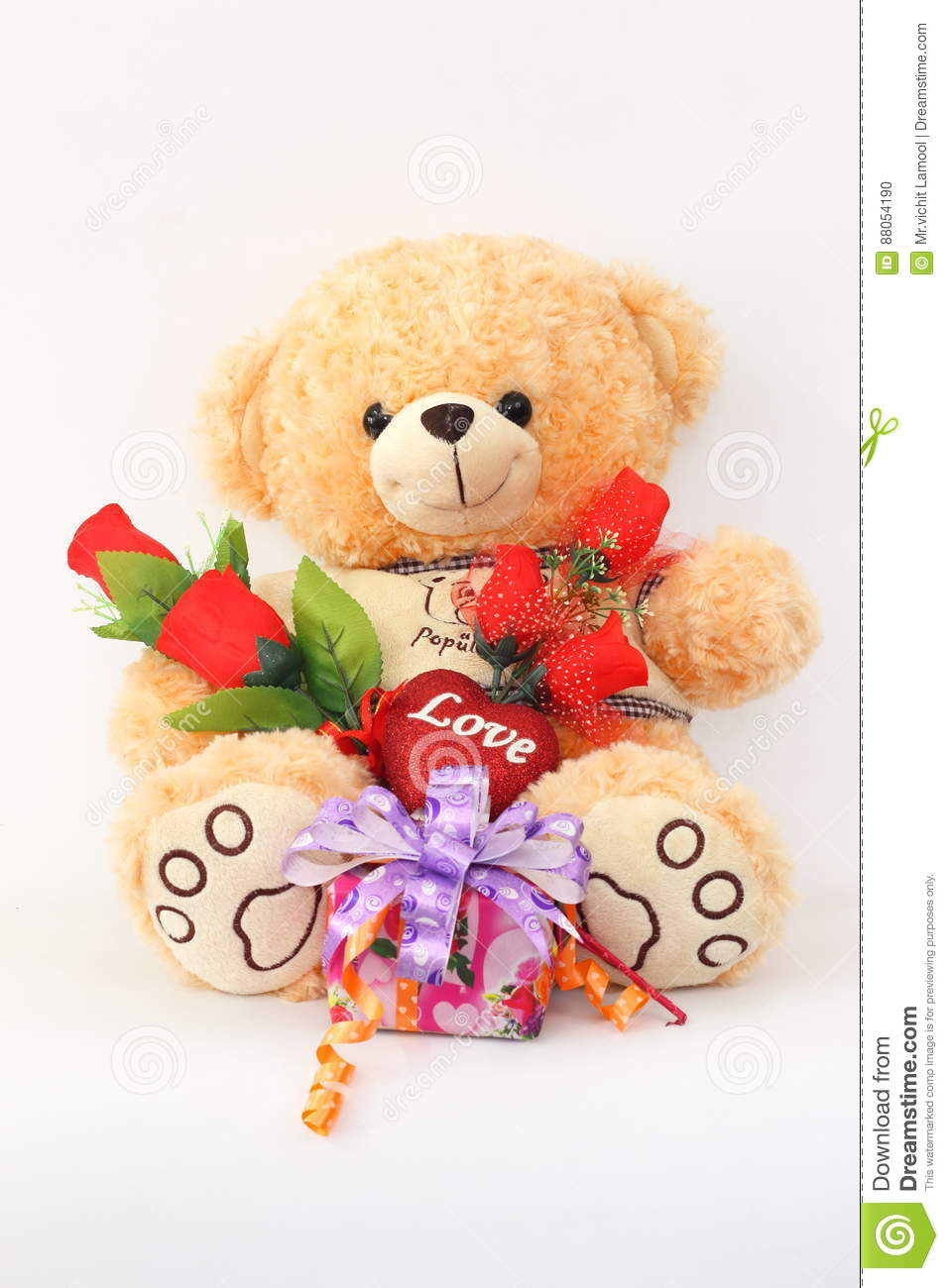 Brown Teddy Bear With A Red Rose And A Gift Box. Stock ...