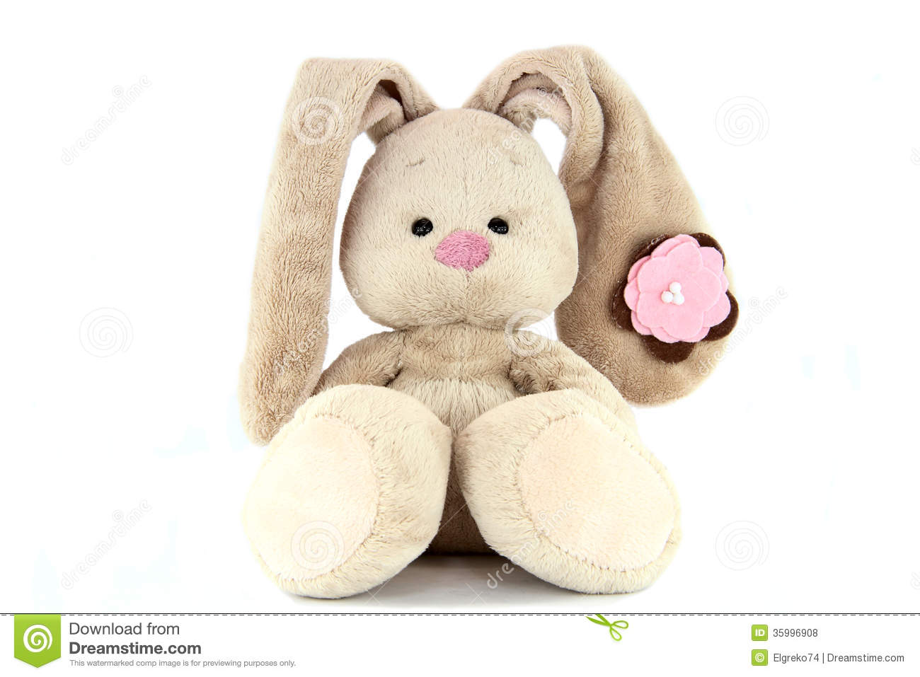 Brown Teddy Bunny With Rose Nose And Flower On The Ear