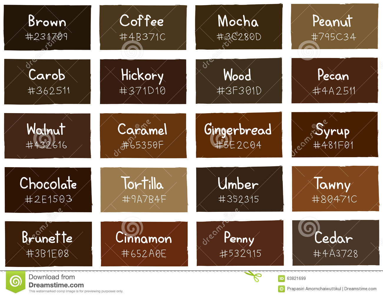 Brown Tone Color Shade Background With Code And Name Stock