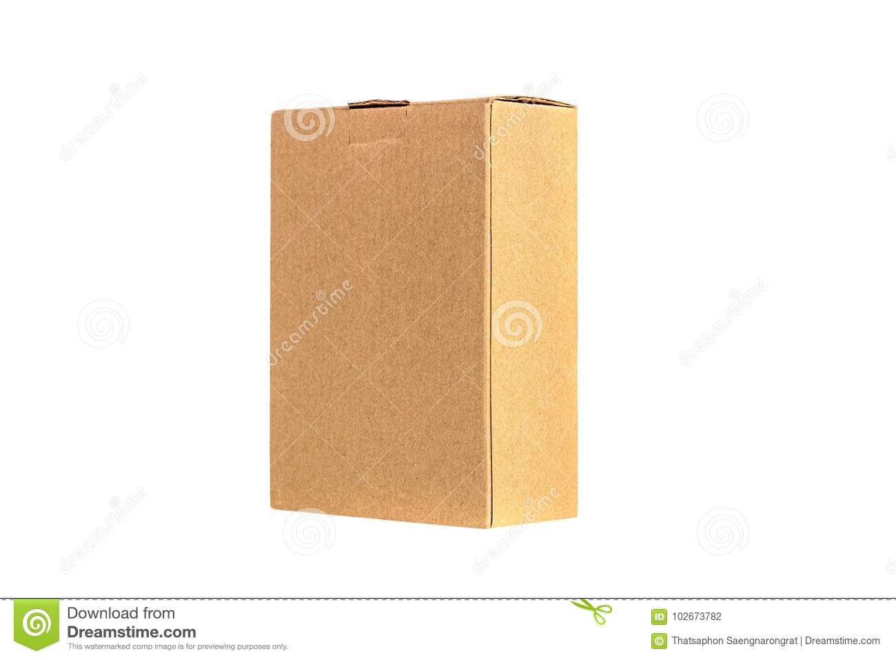 Brown tray or brown paper package or cardboard box isolated on w