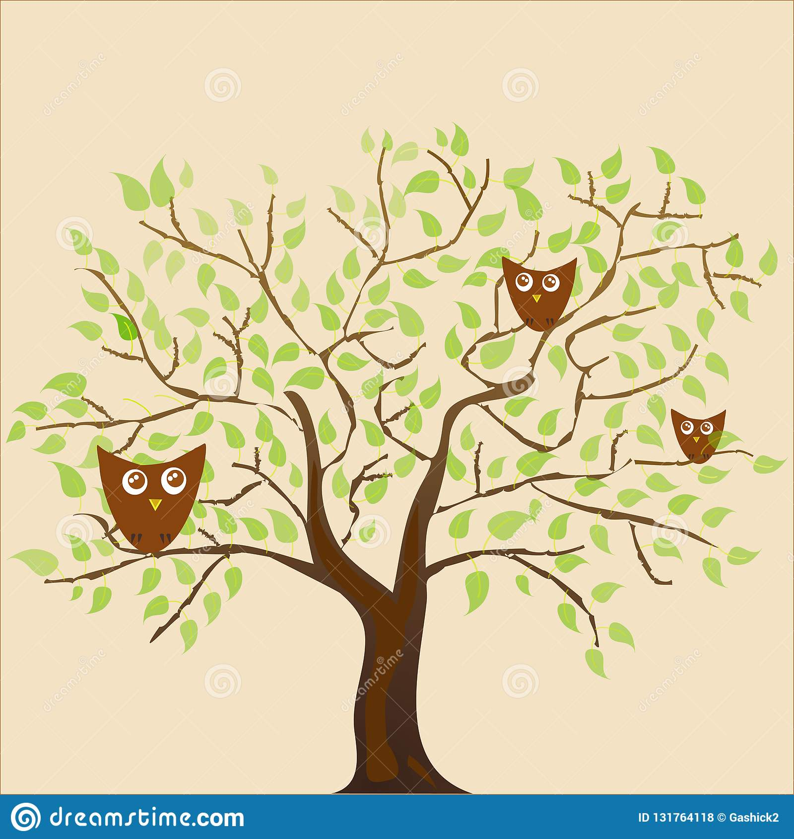 Stylized plants and many vector owls, festive coffee and leaves pattern on beige background