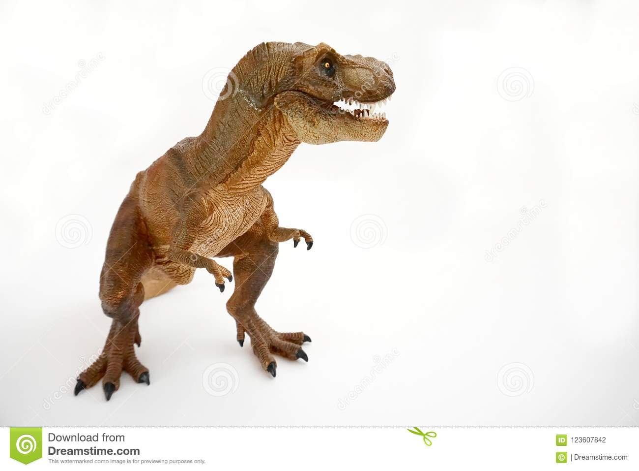 Brown tyrannosaurus rex t-rex, coelurosaurian theropod dinosaur didactic figure with open mouth