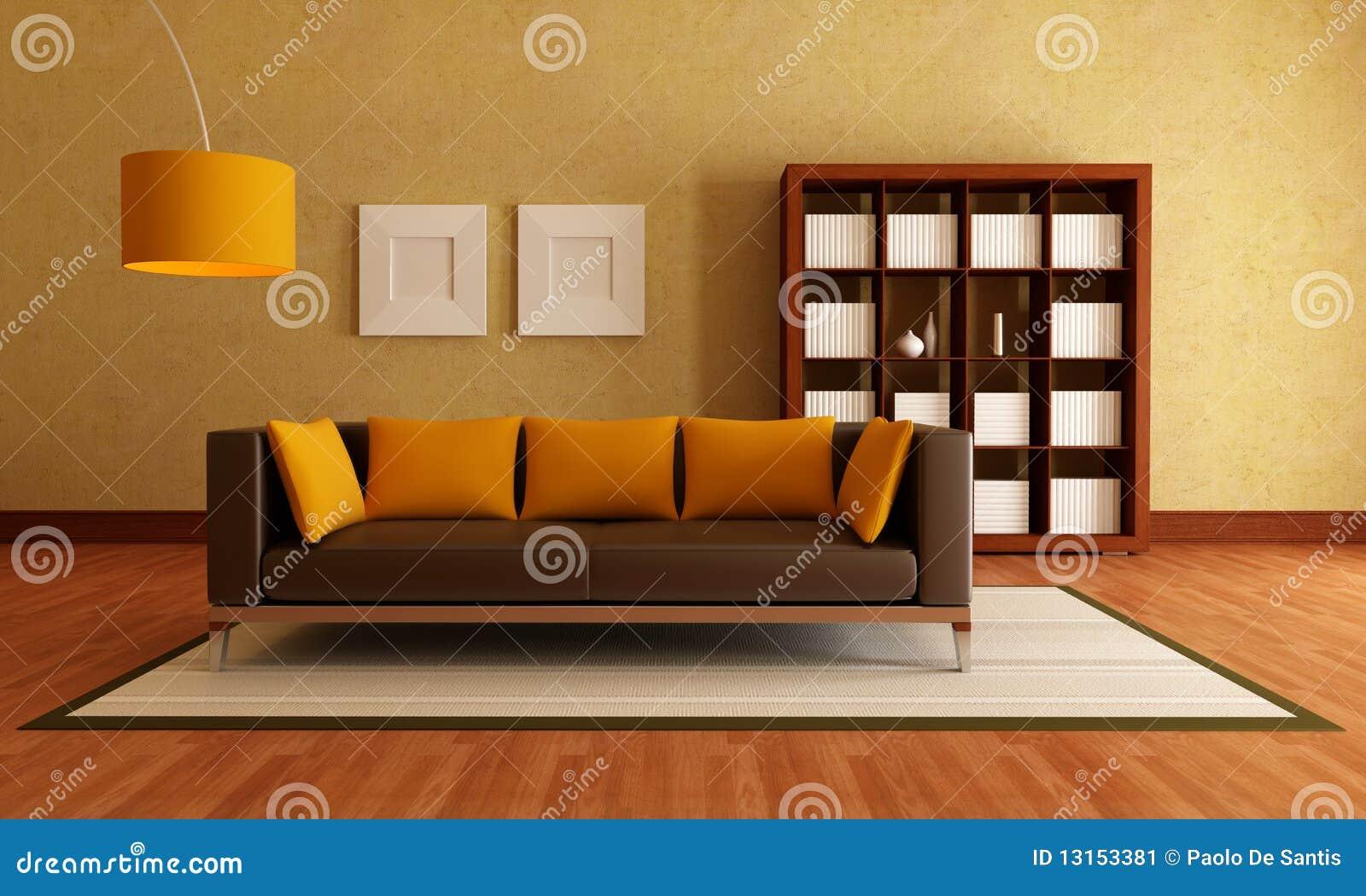 Brown Und Orange Wohnzimmer Stock Abbildung - Illustration von relax ...