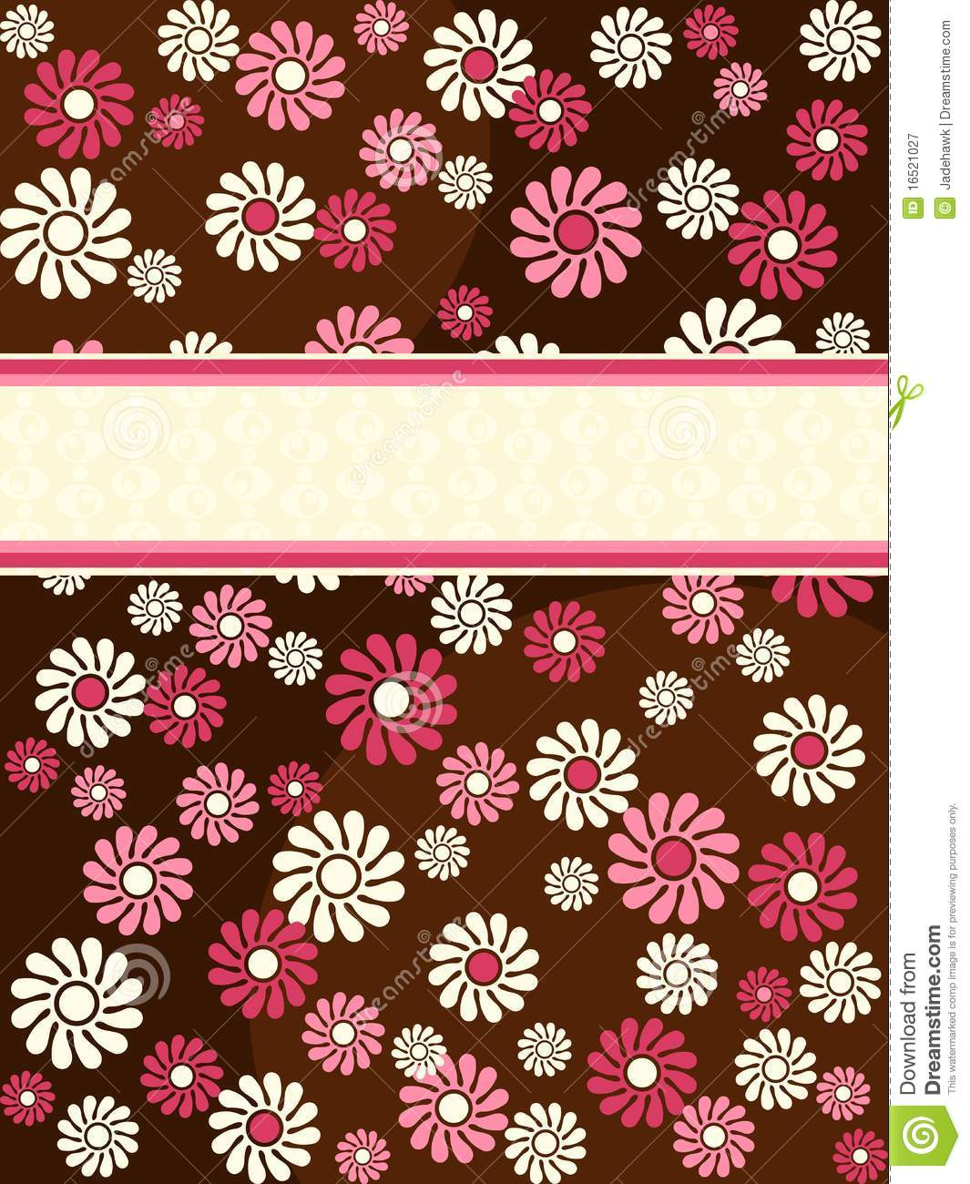 Brown Vertical Retro Banner With Pink Flowers Stock Vector