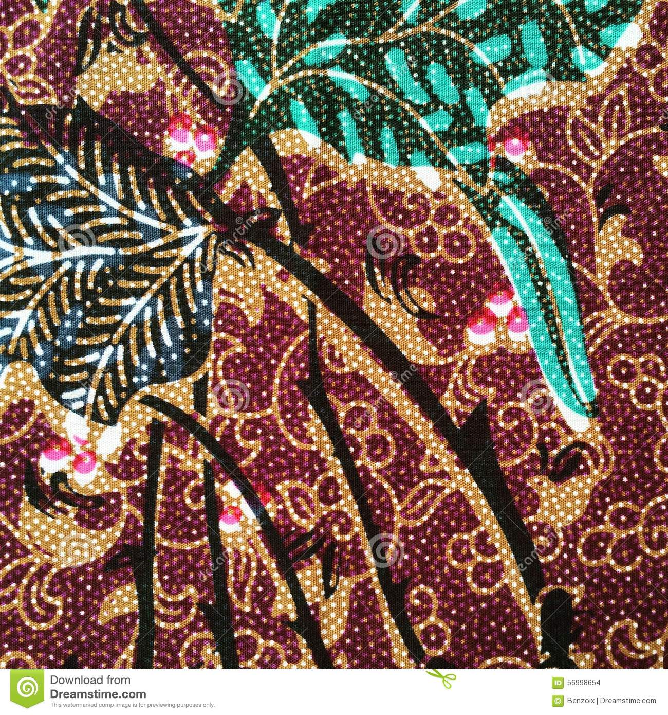 Brown Vintage Batik Pattern Of Thailand. Stock Photo