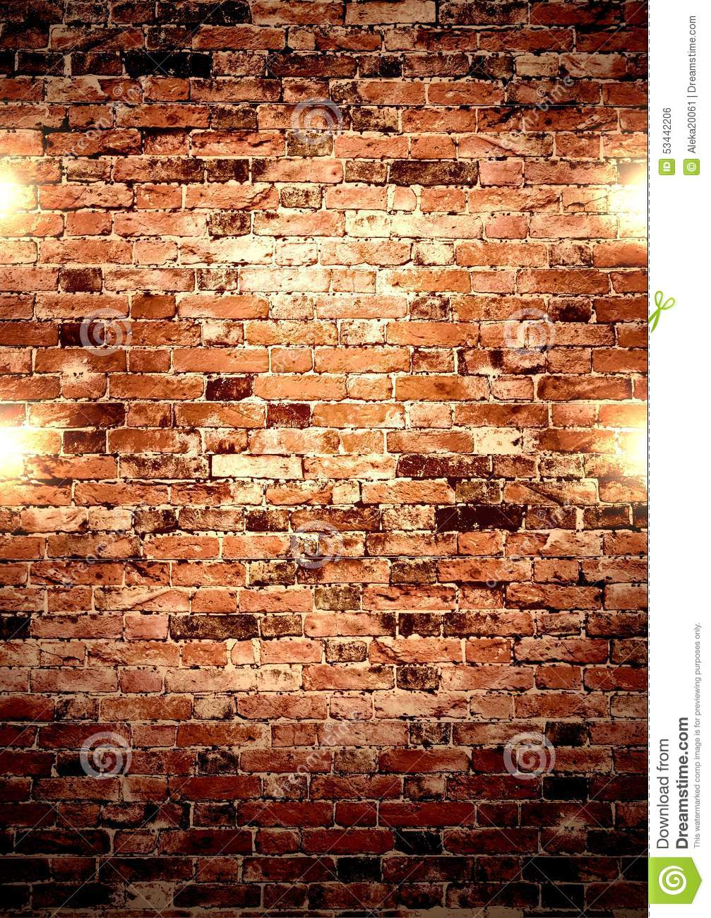 Wall Lights On Brick : Brown Wall With Lights. Stock Photo - Image: 53442206