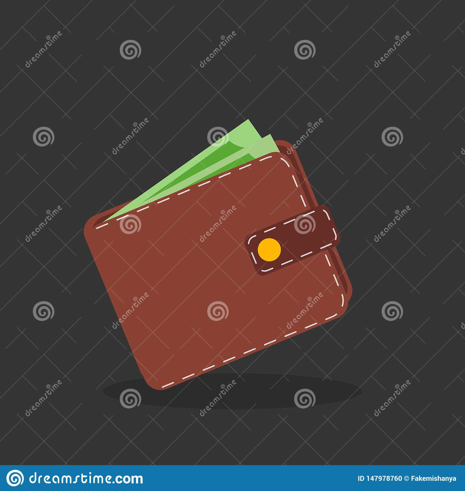 Brown wallet with green paper money