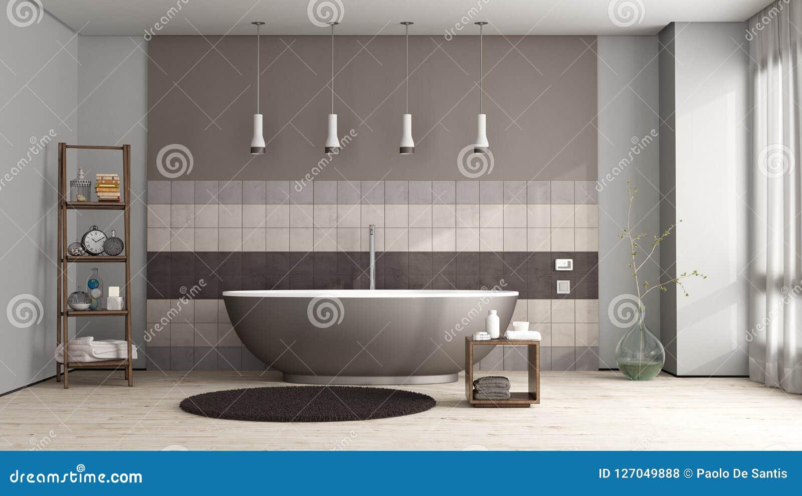 Brown wanna w eleganckiej łazience