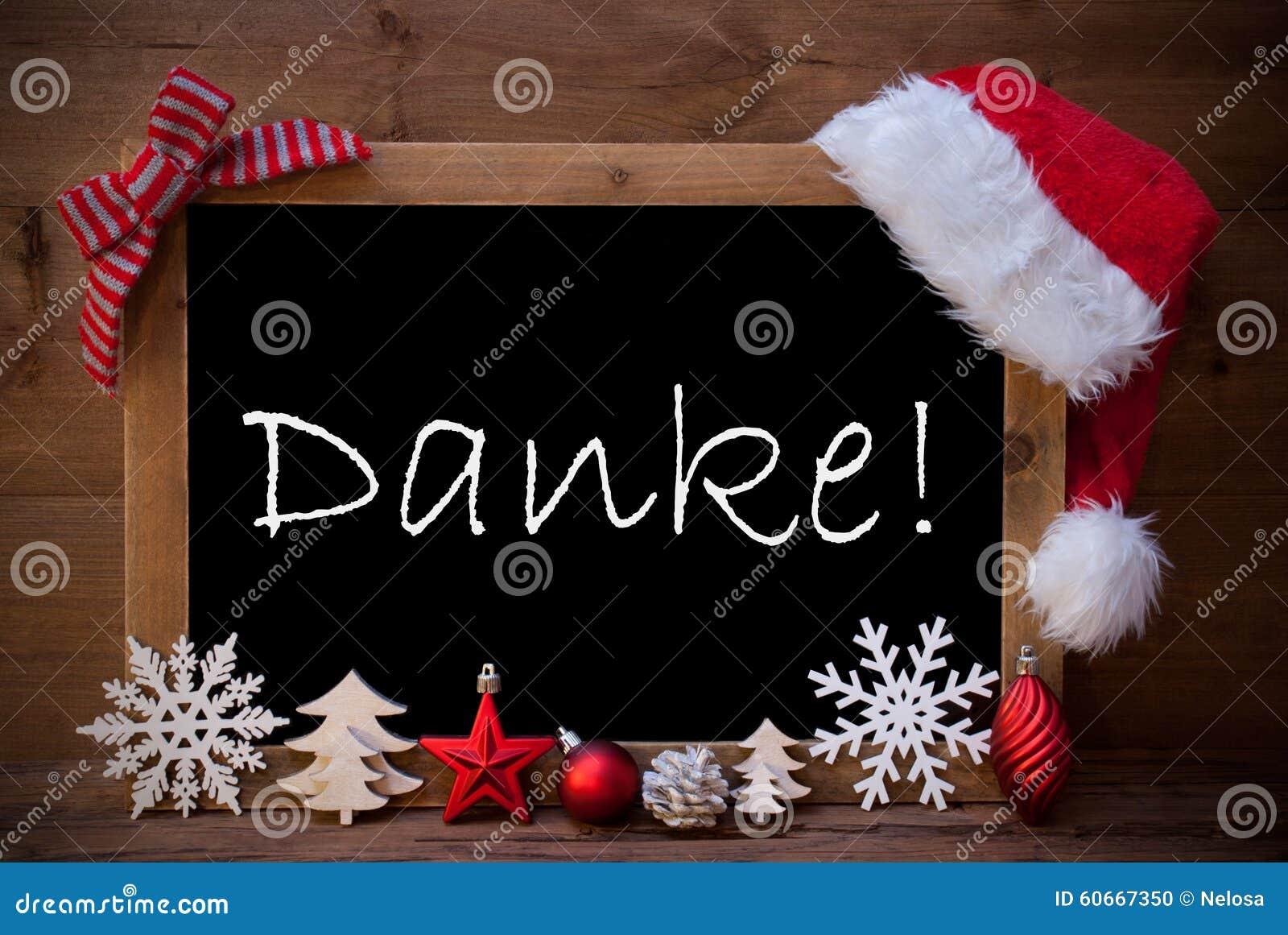Brown-Weihnachtstafel Santa Hat Danke Means Thank Sie Stockfoto ...