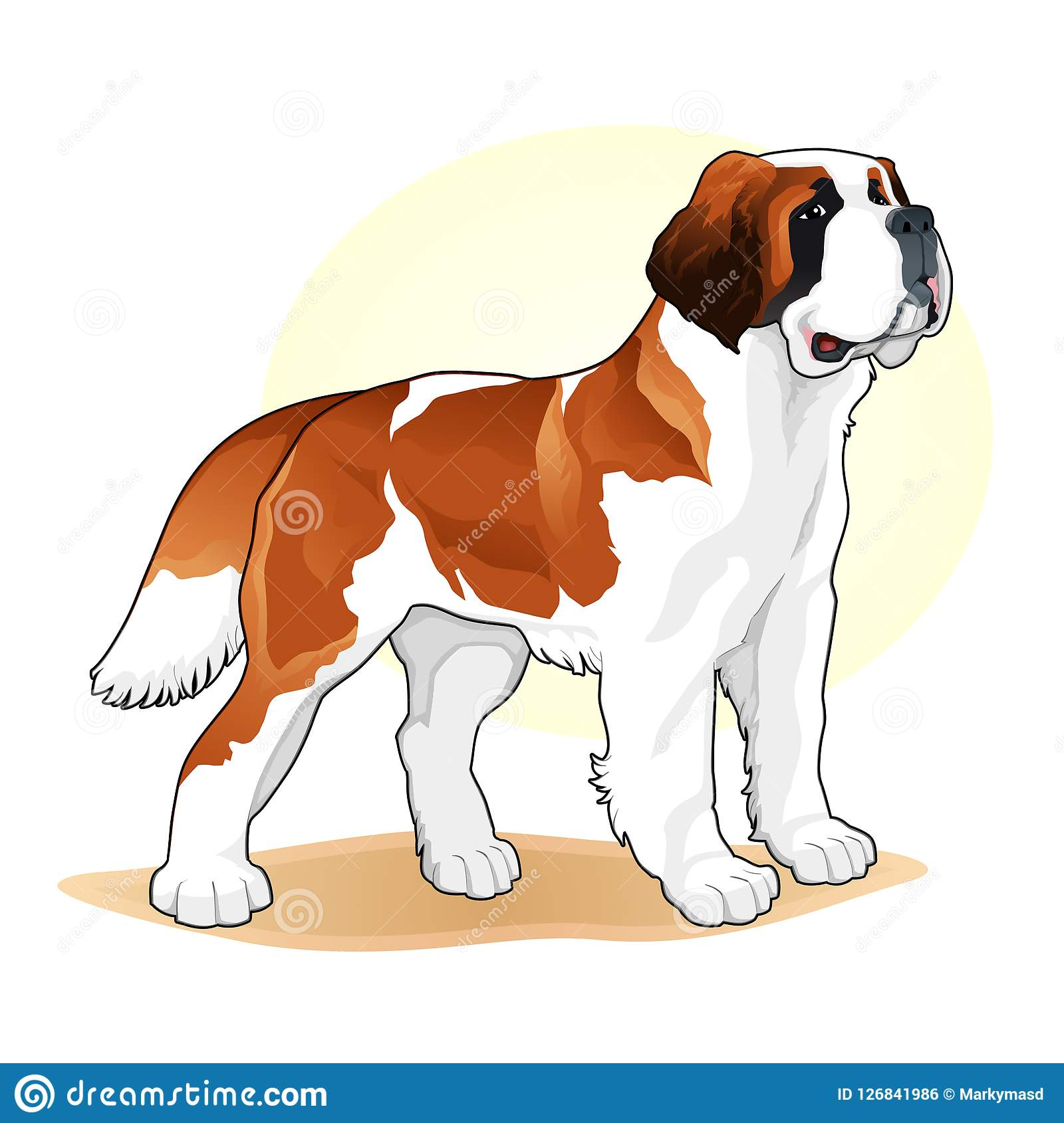 Brown And White Coloured Dog Amazing Vector Illustration Cute