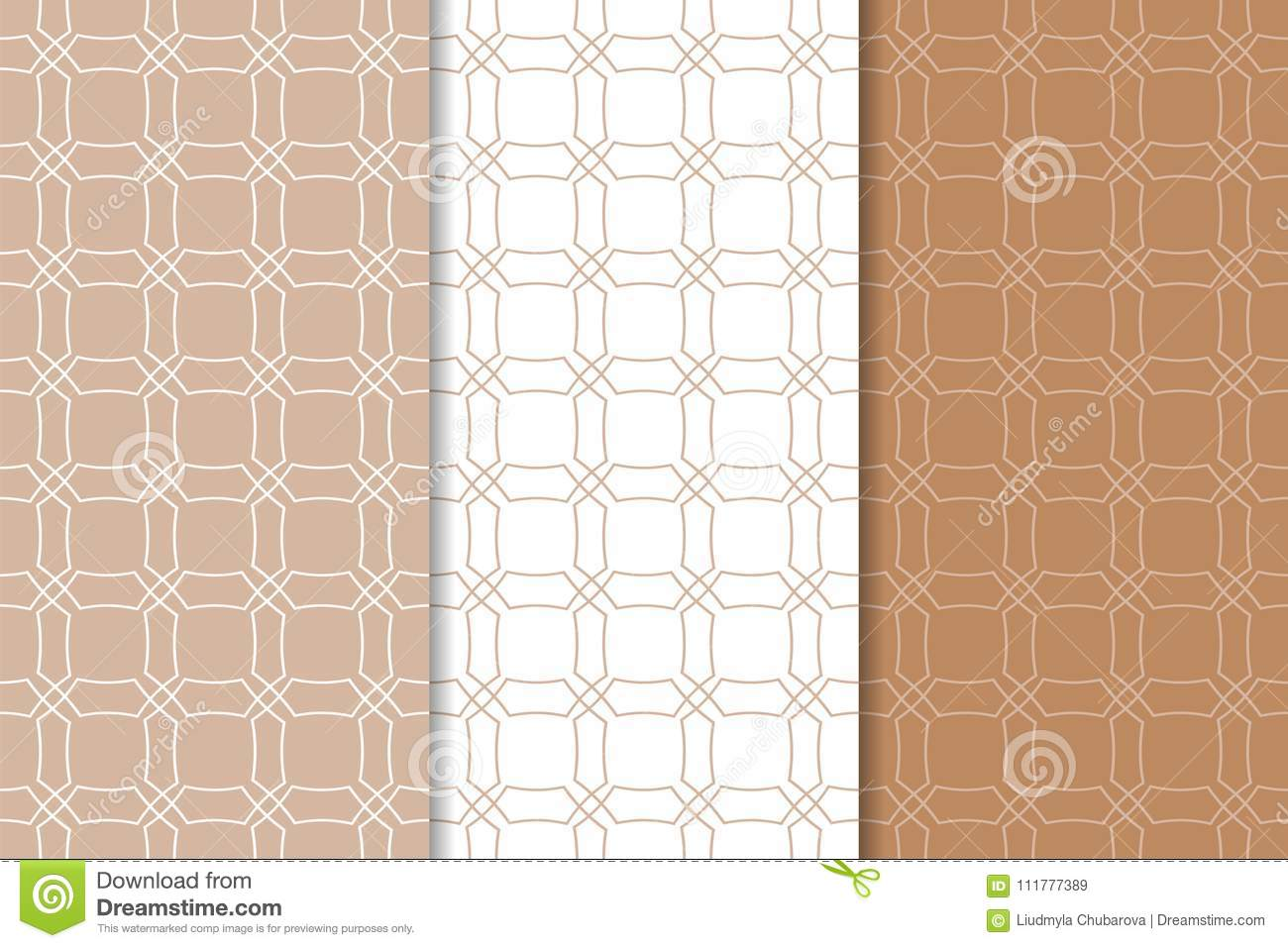 Brown and white geometric ornaments. Set of seamless patterns