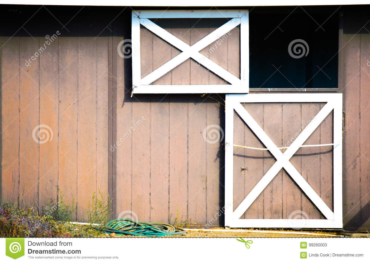 Brown And White Open Barn Door Stock Image Image Of Exposure Aged