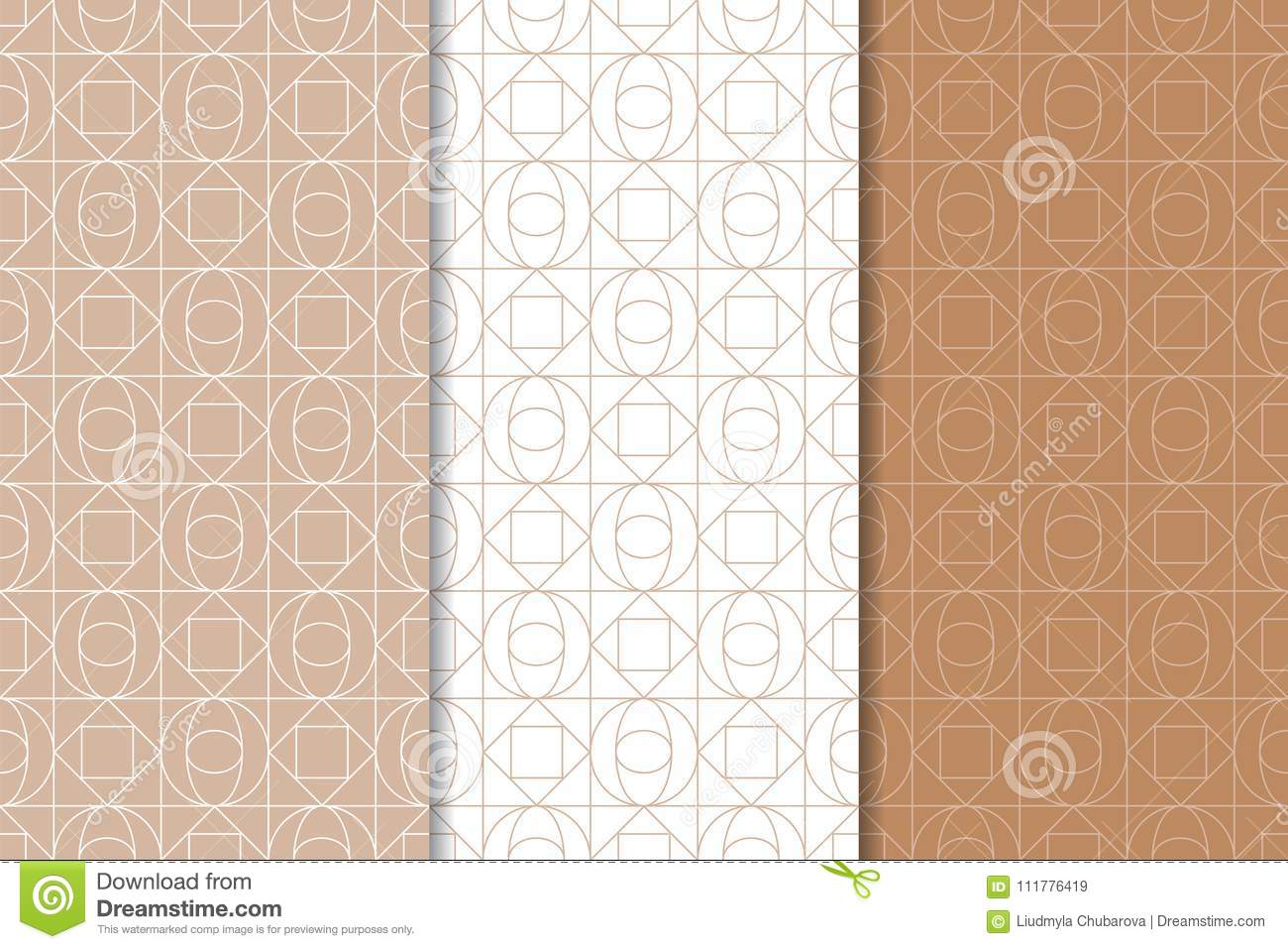 Brown and white set of geometric seamless patterns